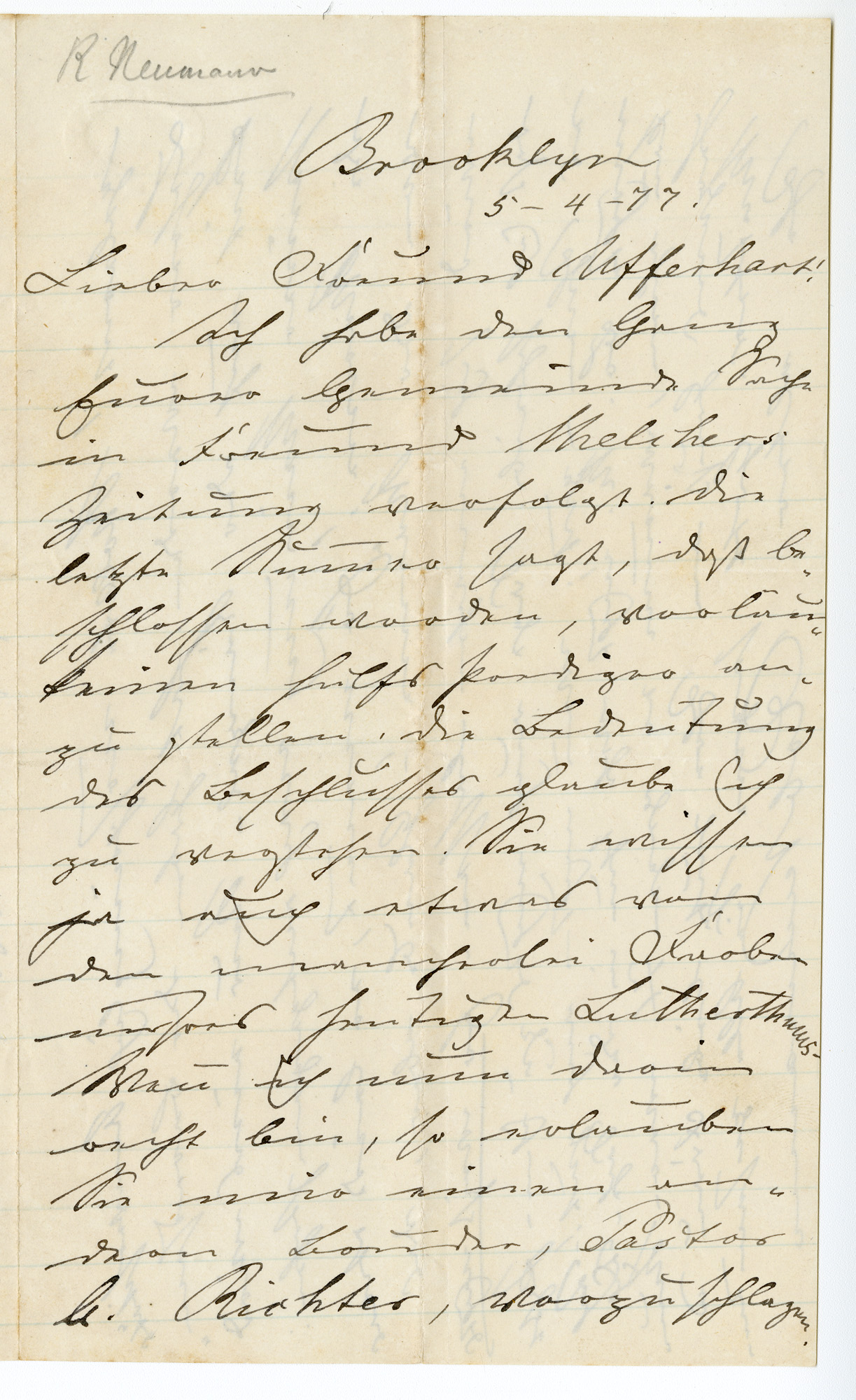 Letter from Rob Neumann to William Ufferhardt. May 4, 1877