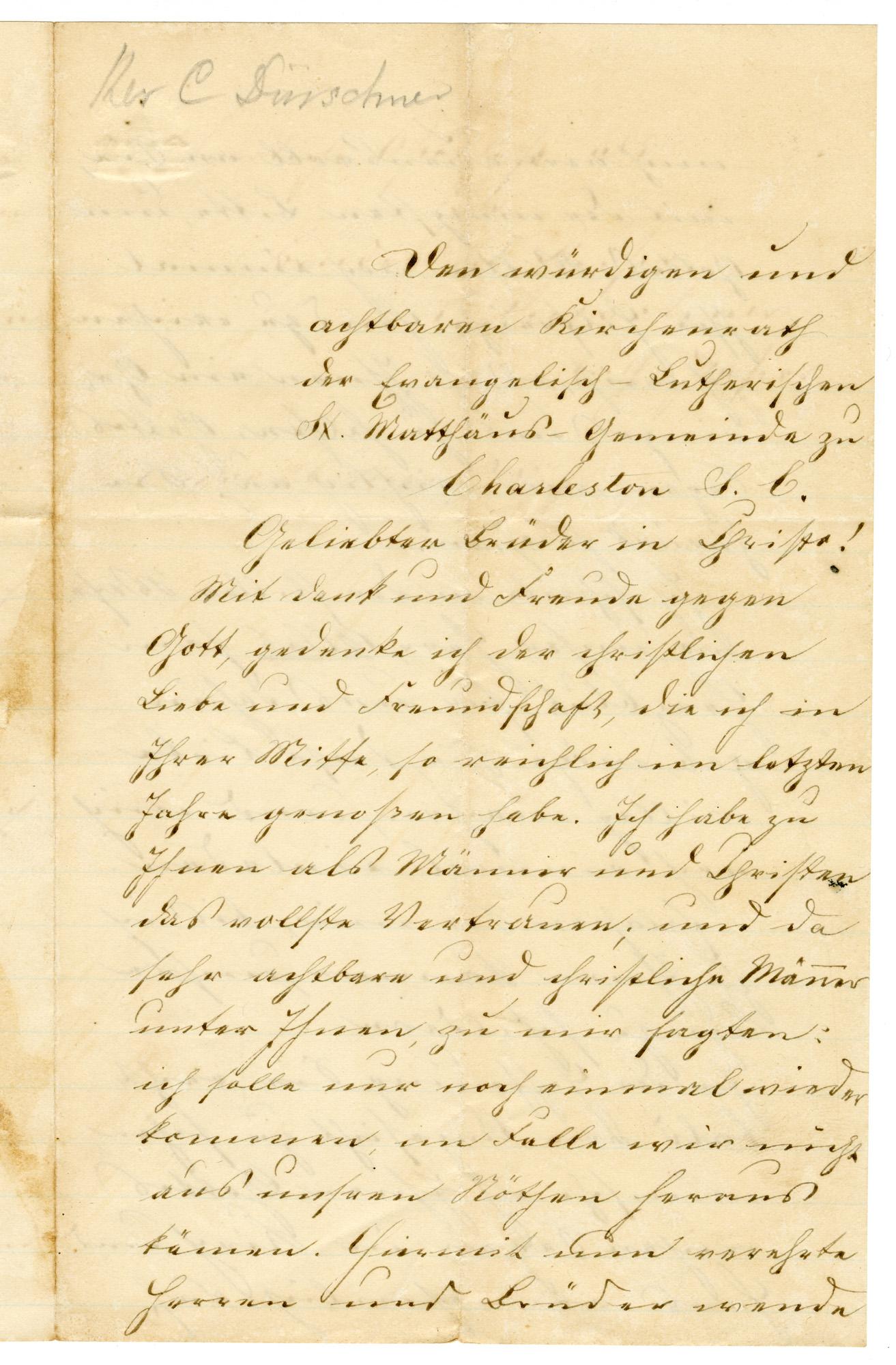 Letter from Pastor C. Duershner, May 26, 1877