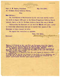 Bequest of Mr. C. H. W. Kurth to St. Matthew's Luther Church, August 31, 1899