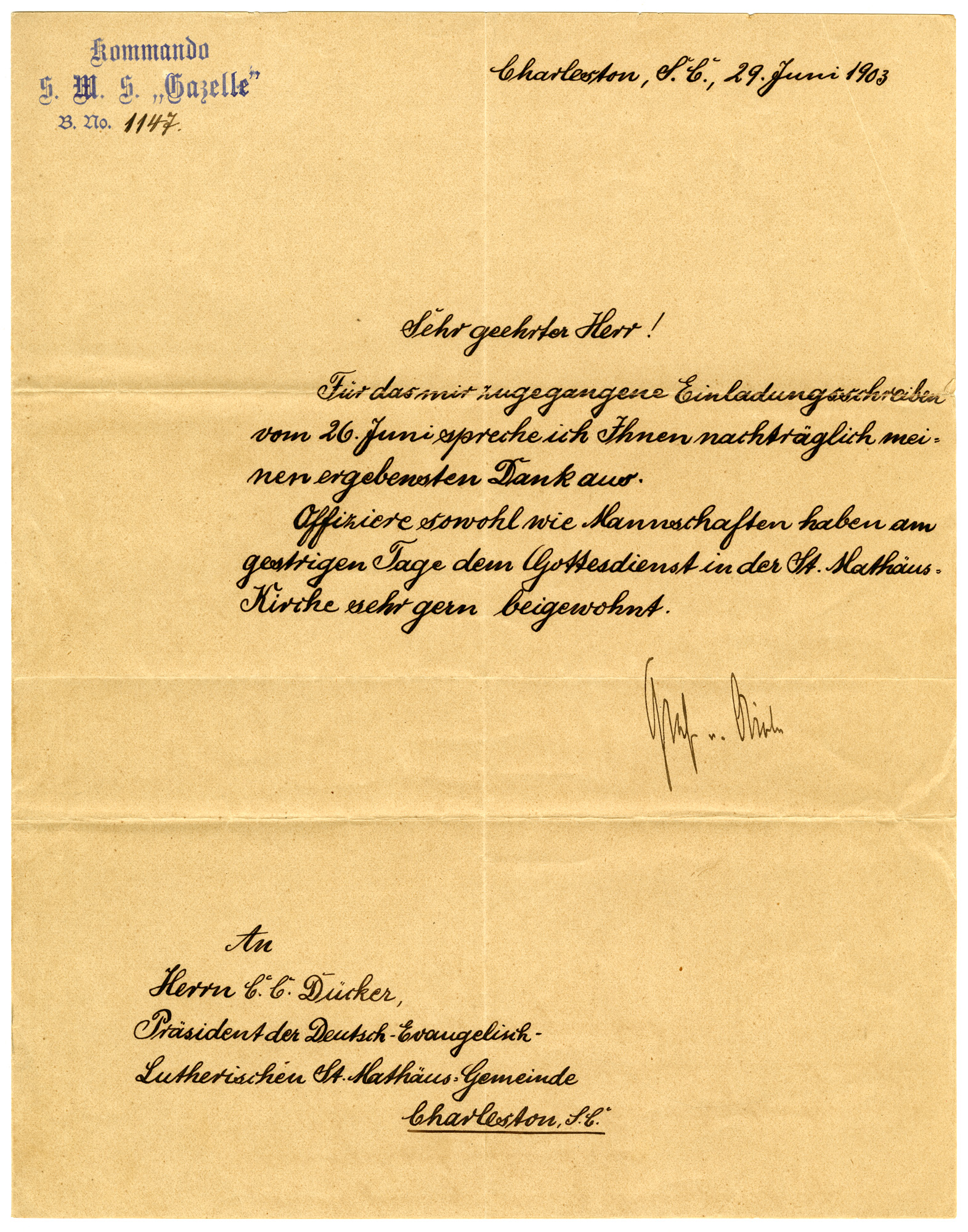 Letter from SMS Gazelle Captain to C.G. Ducker, June 29, 1903