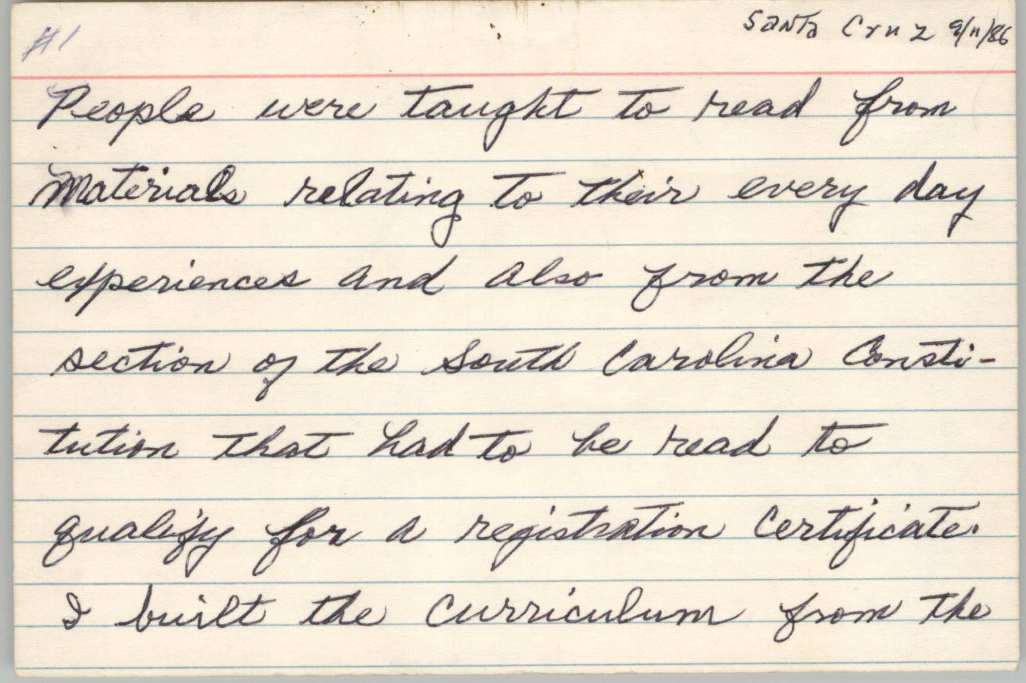 Speech Notecards, September 11, 1986