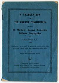 Translation of Church Constitution of St. Matthew's German Evangelical Lutheran Congregation