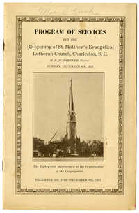 Program of Services for the Re-Opening of St. Matthew's Evangelical Lutheran Church