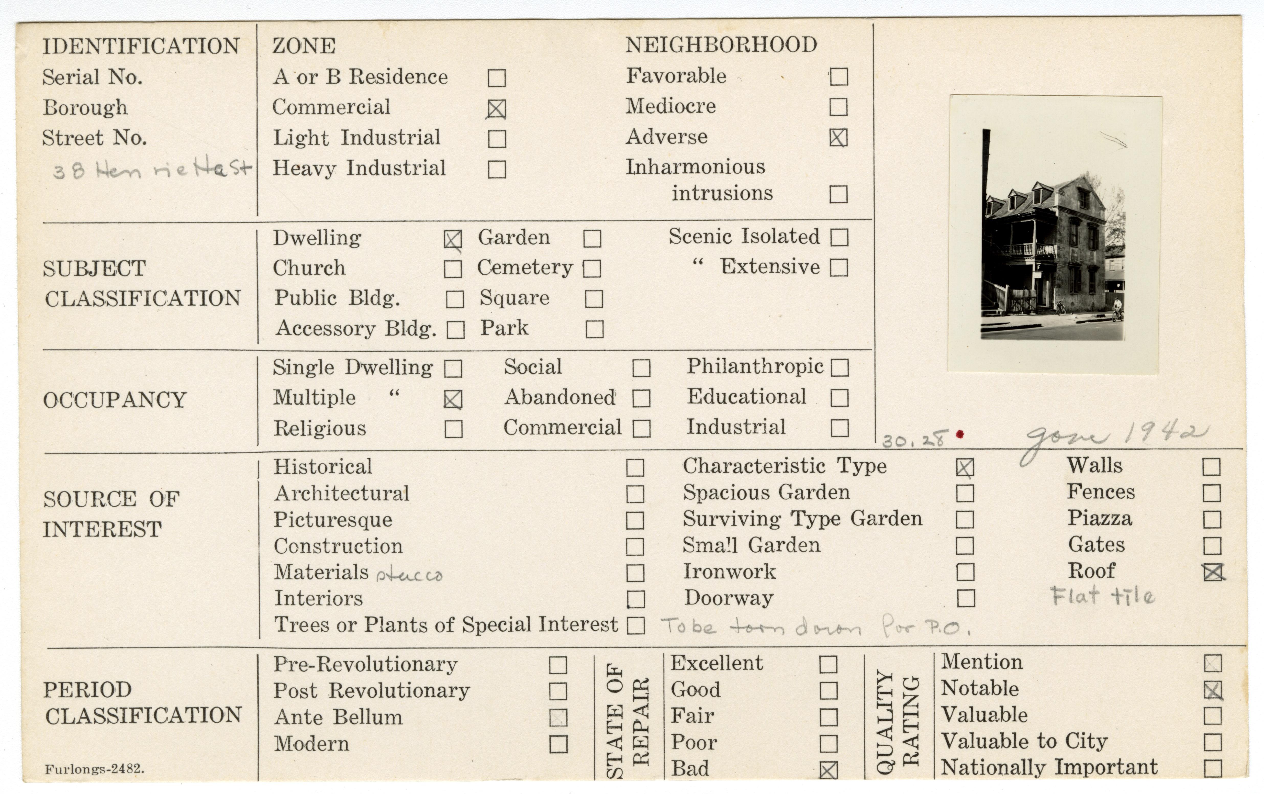 Index Card Survey of 38 Henrietta Street