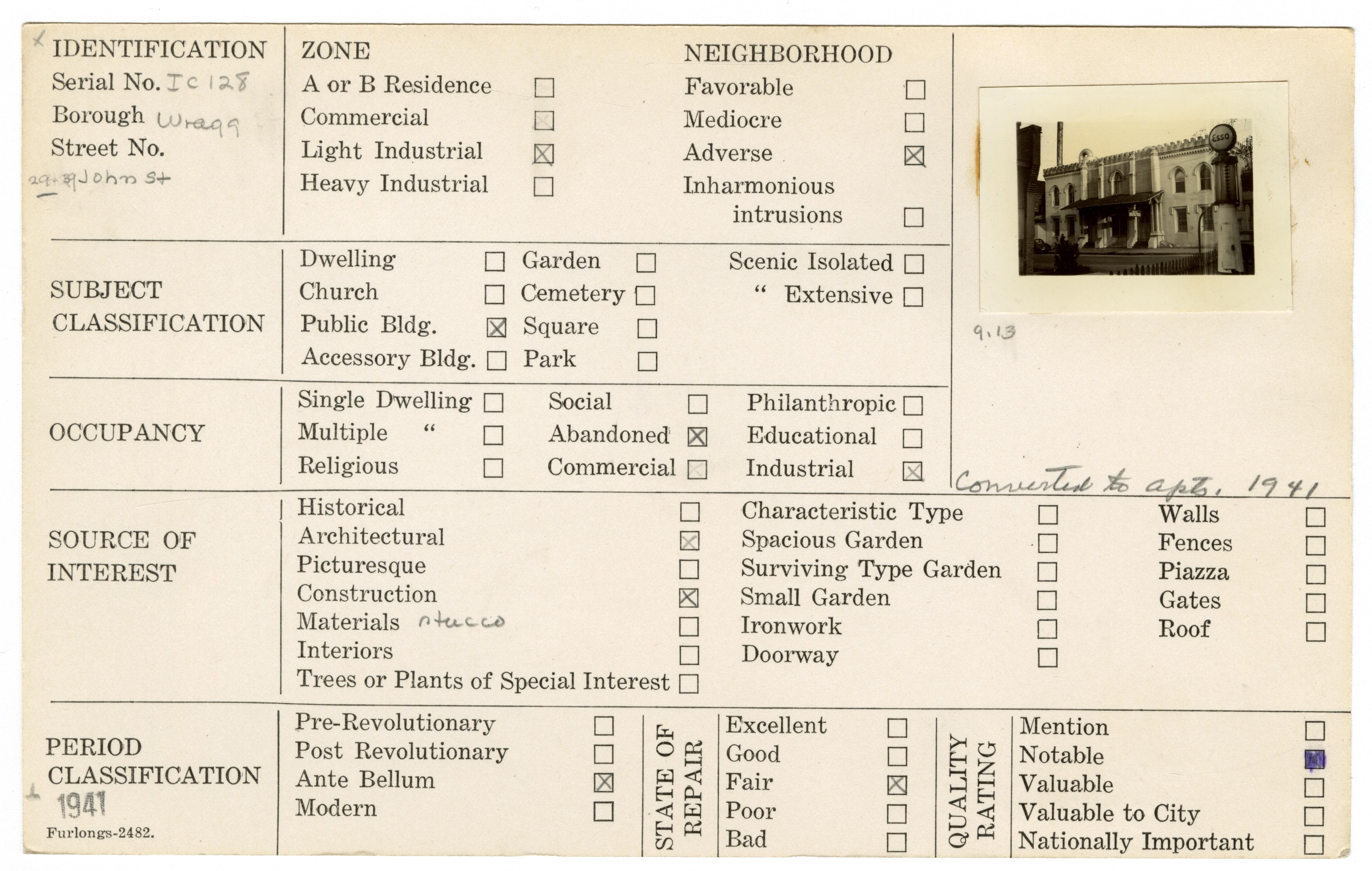 Index Card Survey of 29-39 John Street