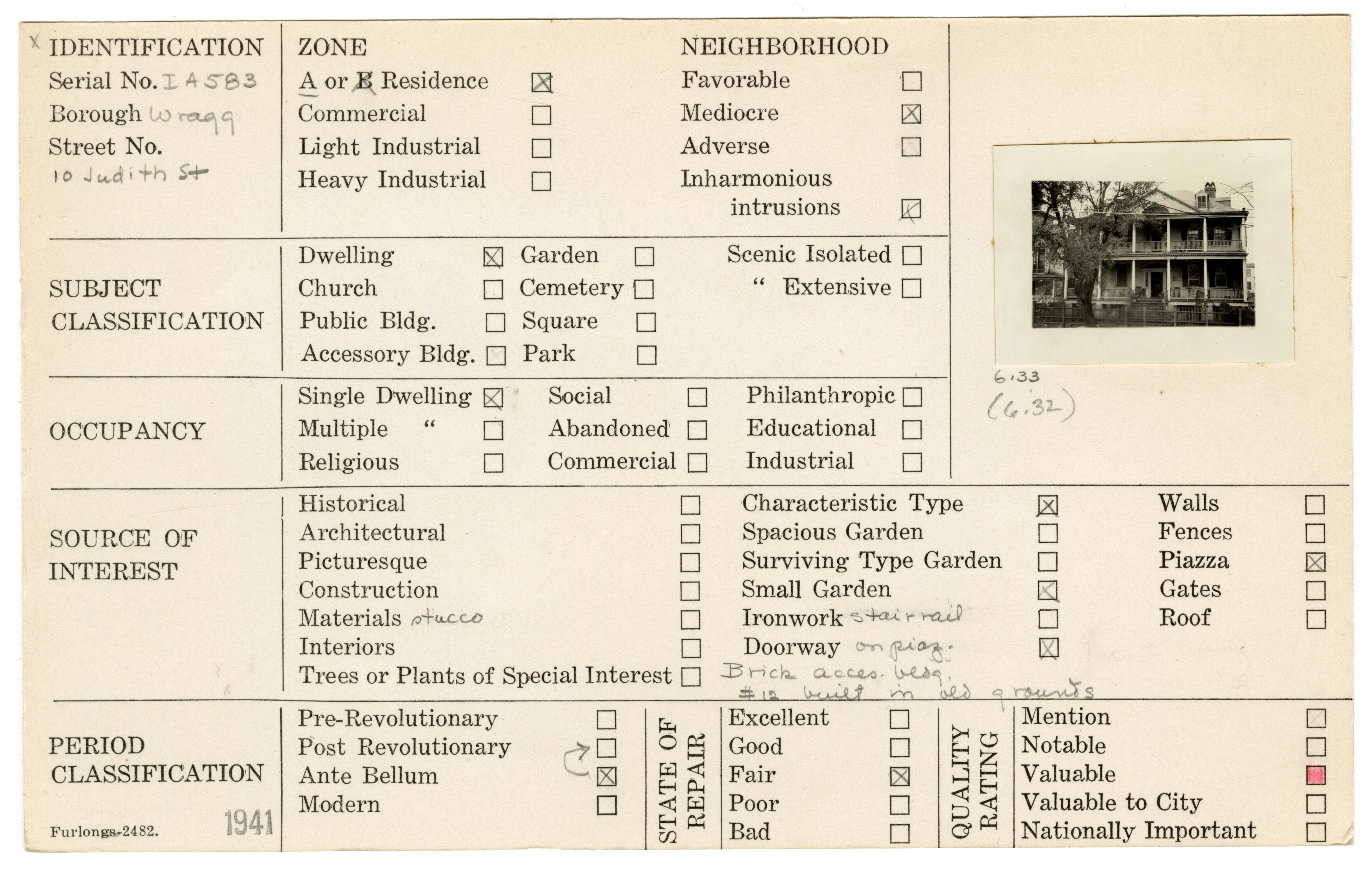 Index Card Survey of 10 Judith Street