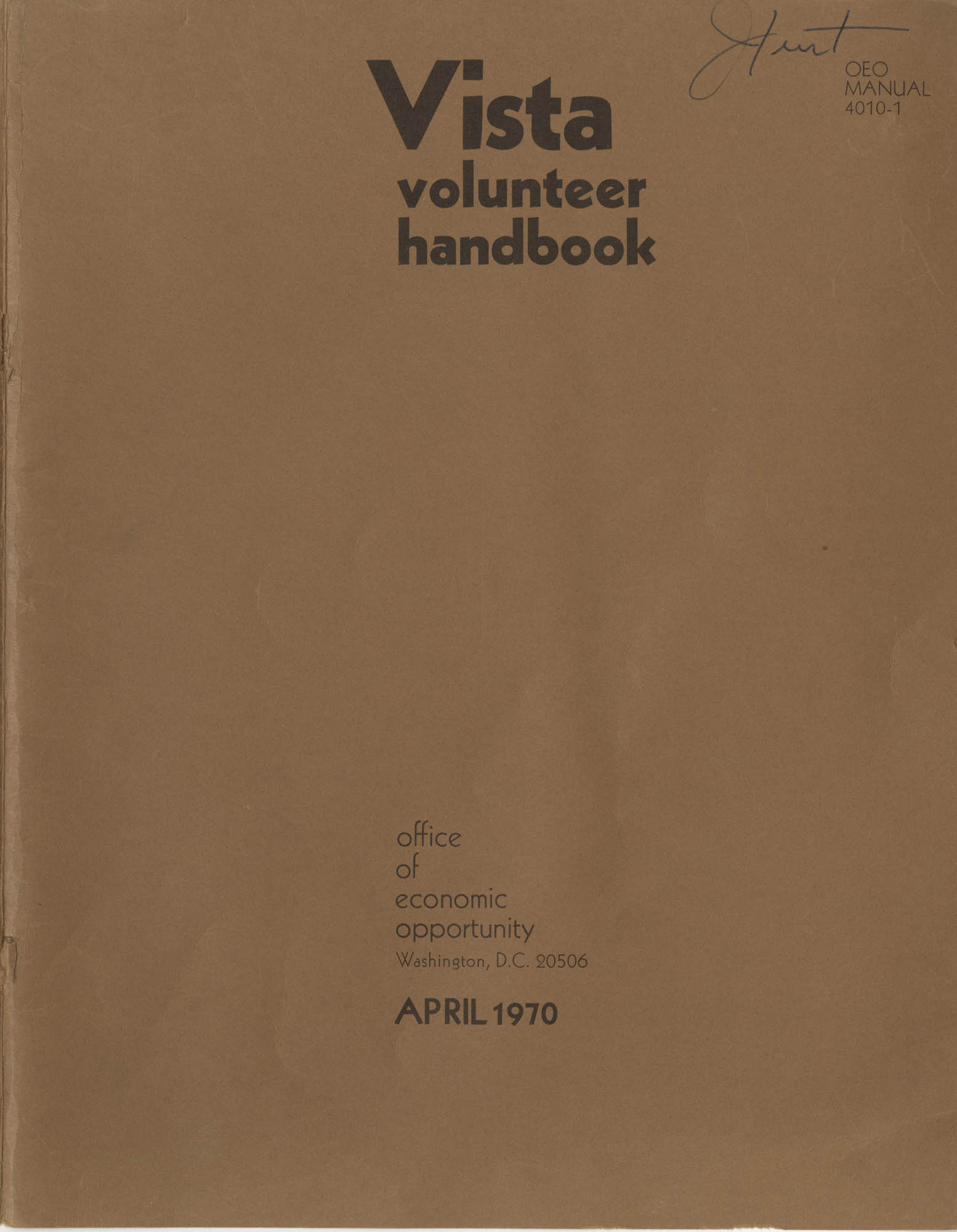 Vista Volunteer Handbook, April 1970