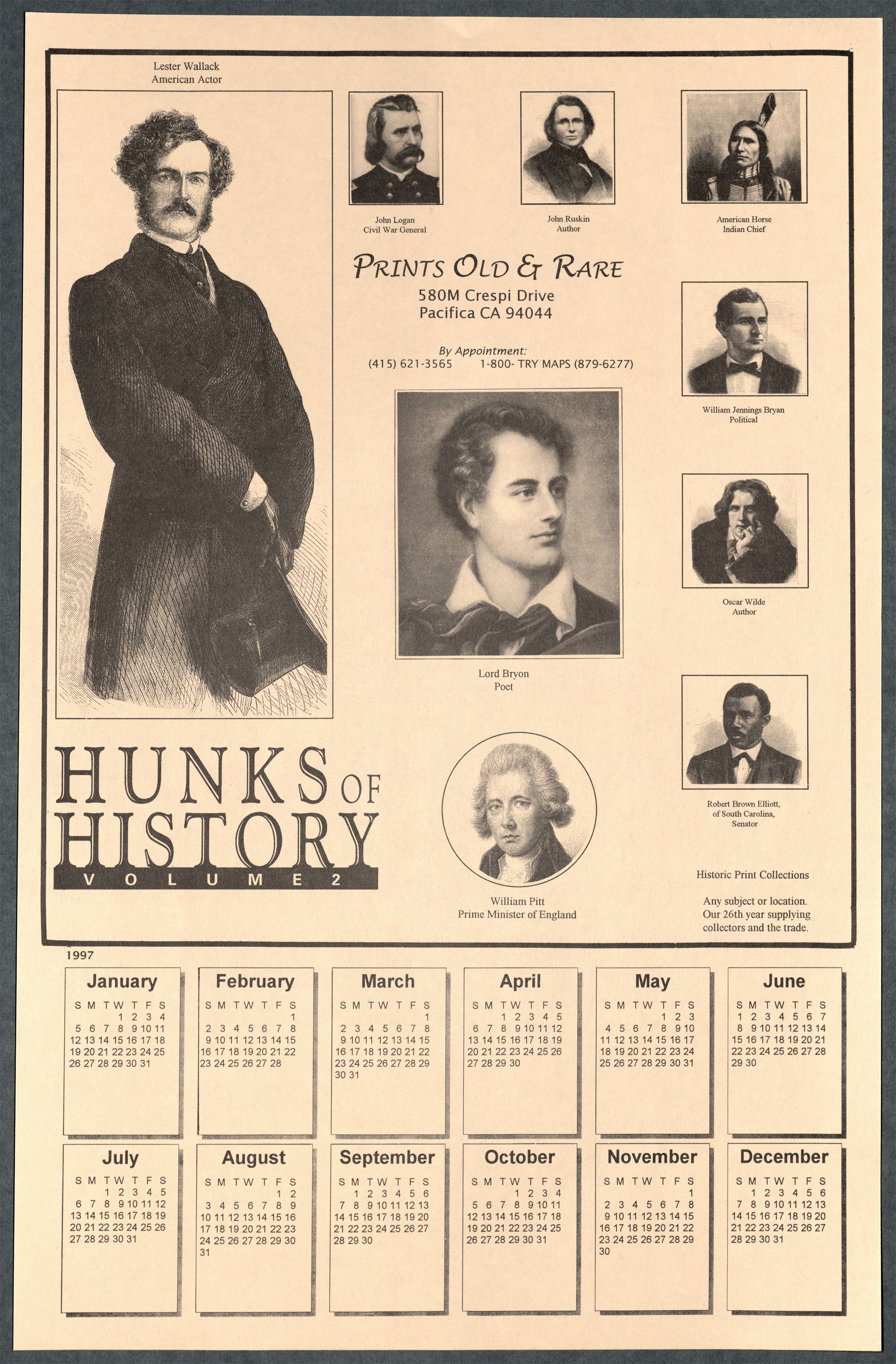 Hunks of History Calendar Advertisement from Prints Old and Rare