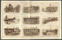 Nine prints depicting scenes from Charleston forts during the Civil War