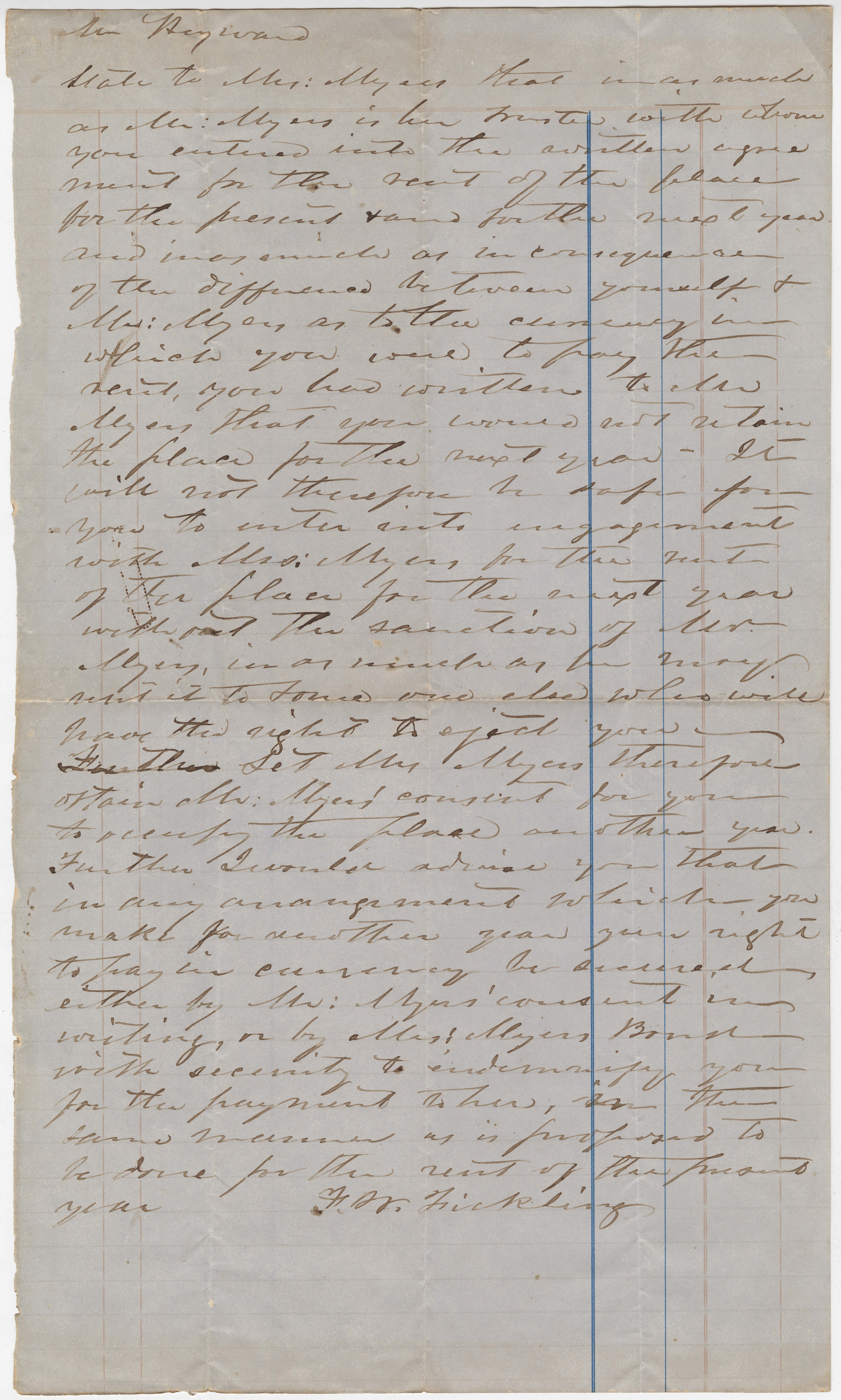 361. Letter to Mr. James B. Heyward from F.M. Fickling -- ca. 1864
