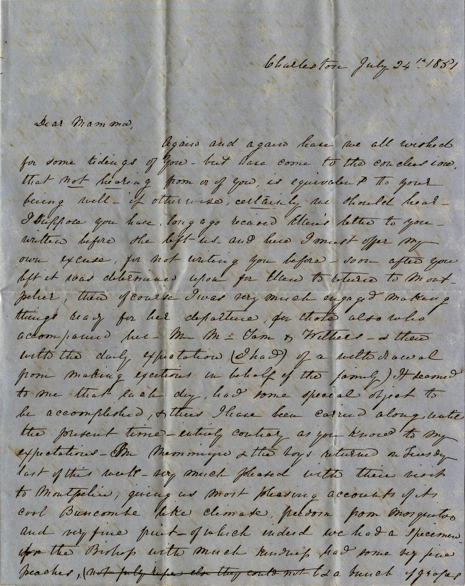 034. Mary Wilkinson Memminger to Eleanora Wilkinson -- July 24, 1851