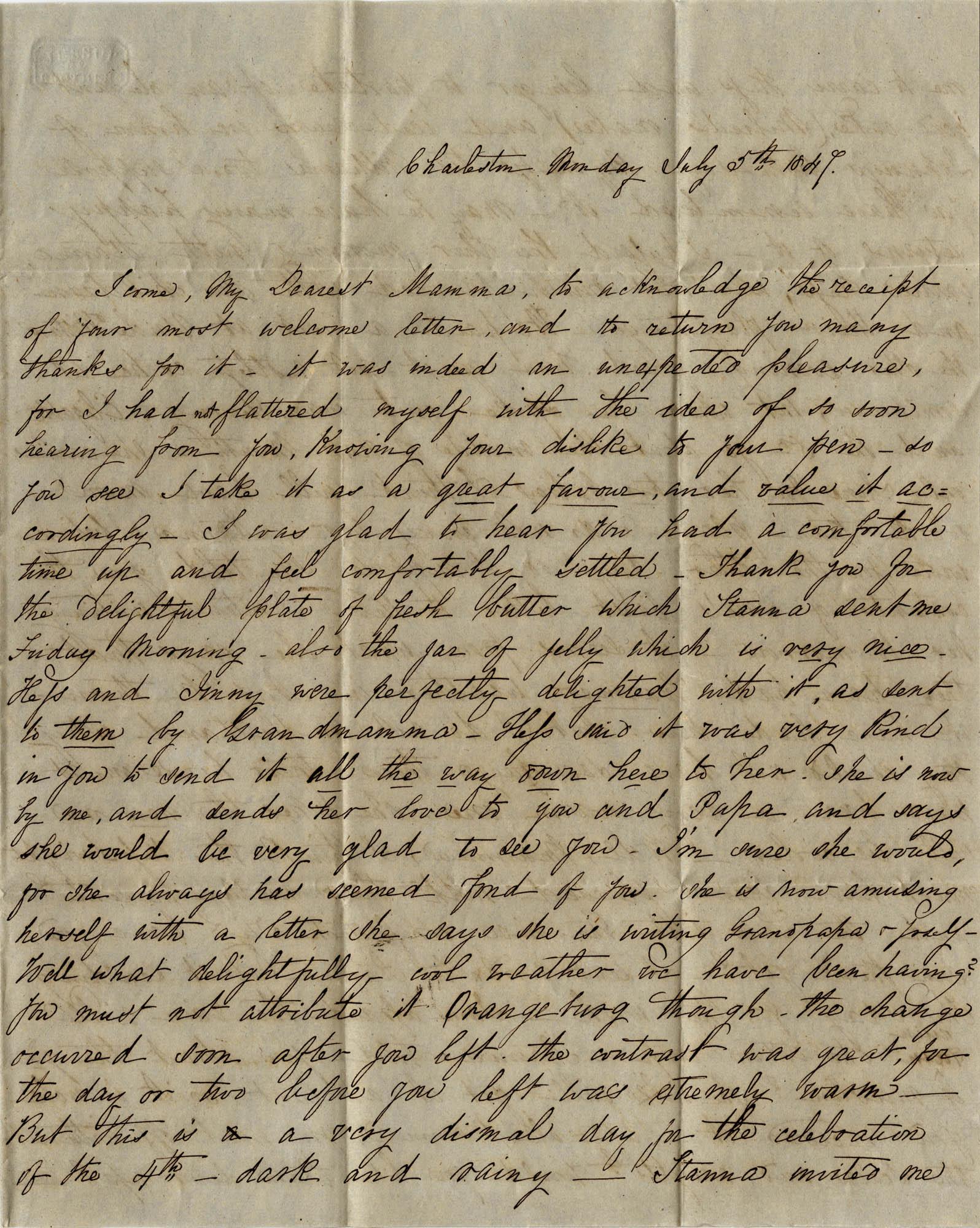 029. Virginia Wilkinson Belin to Eleanora Wilkinson -- July 5, 1847