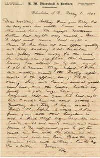 123. Alex Marshall and Maynard Marshall to Magdalen Elizabeth Wilkinson Marshall (nee Keith) -- May 1, 1890