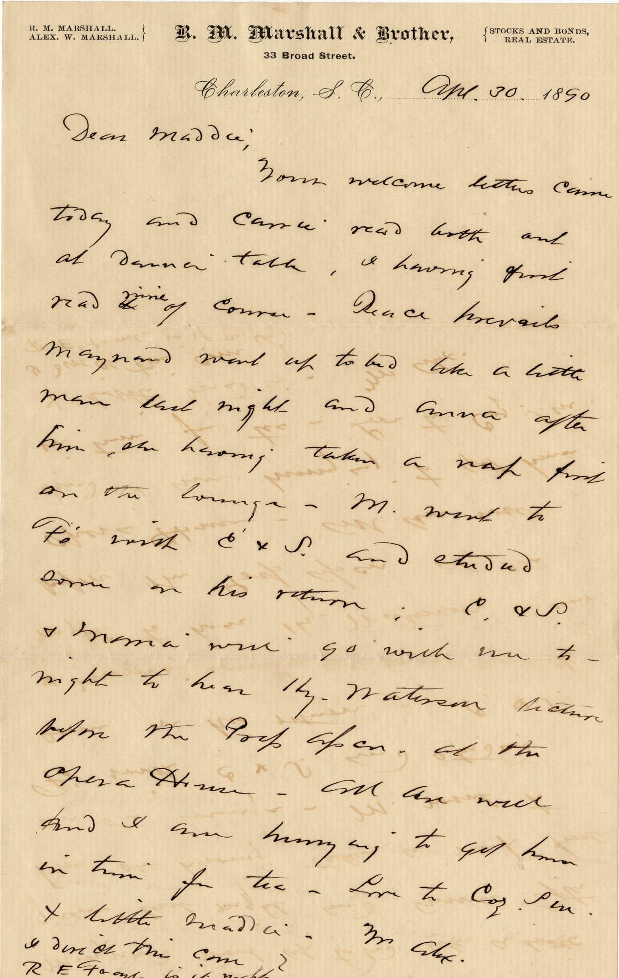 124. Alex Marshall to Magdalen Elizabeth Wilkinson Marshall (nee Keith) -- Apr. 30, 1890