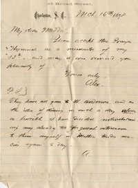 108. Alex Marshall to Magdalen Elizabeth Wilkinson Marshall (nee Keith) -- Mar. 16, 1878