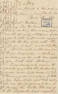 404. Madame Baptiste to Bp Patrick Lynch -- April 6, 1866