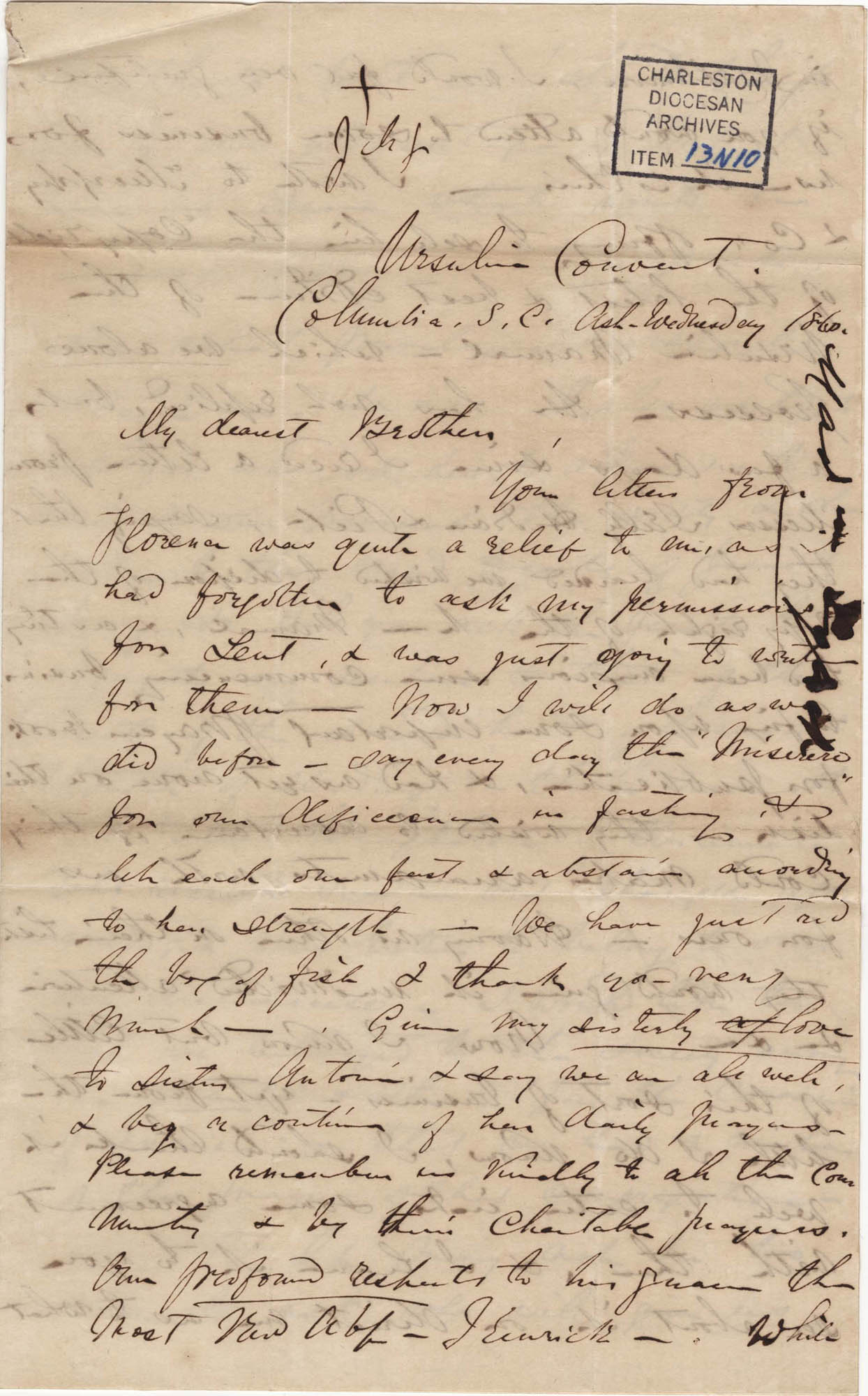 093. Madame Baptiste to Bp Patrick Lynch -- February 22, 1860