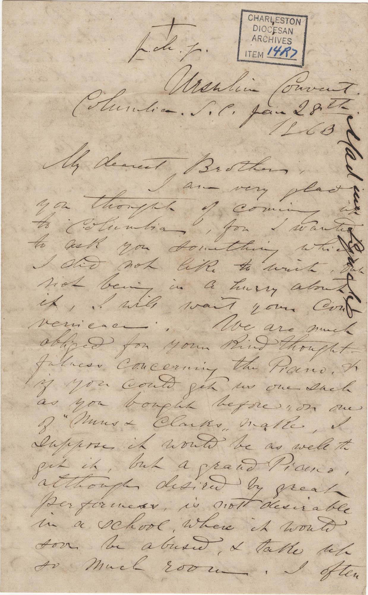 262. Madame Baptiste to Bp Patrick Lynch -- January 28, 1863