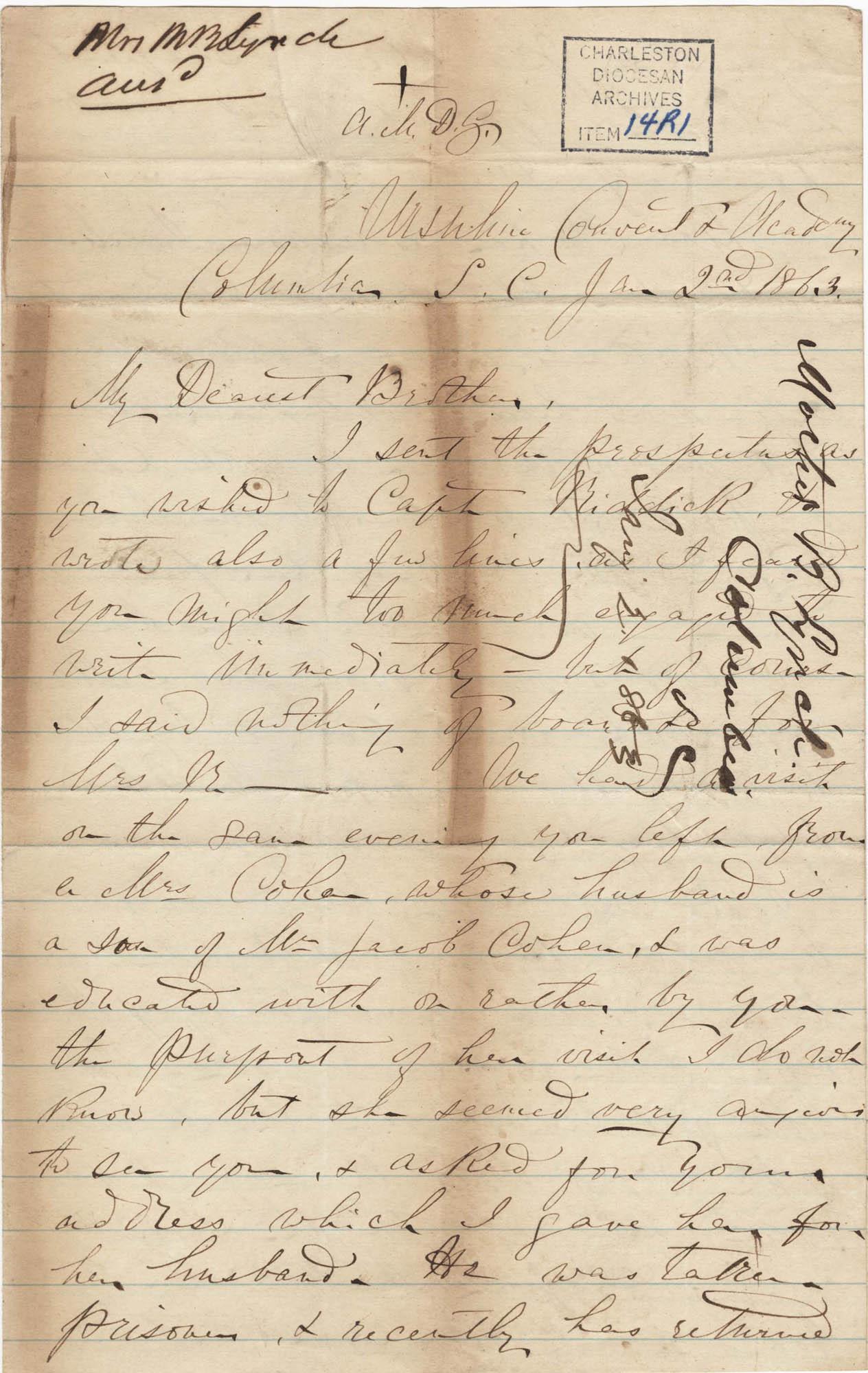 256. Madame Baptiste to Bp Patrick Lynch -- January 2, 1863