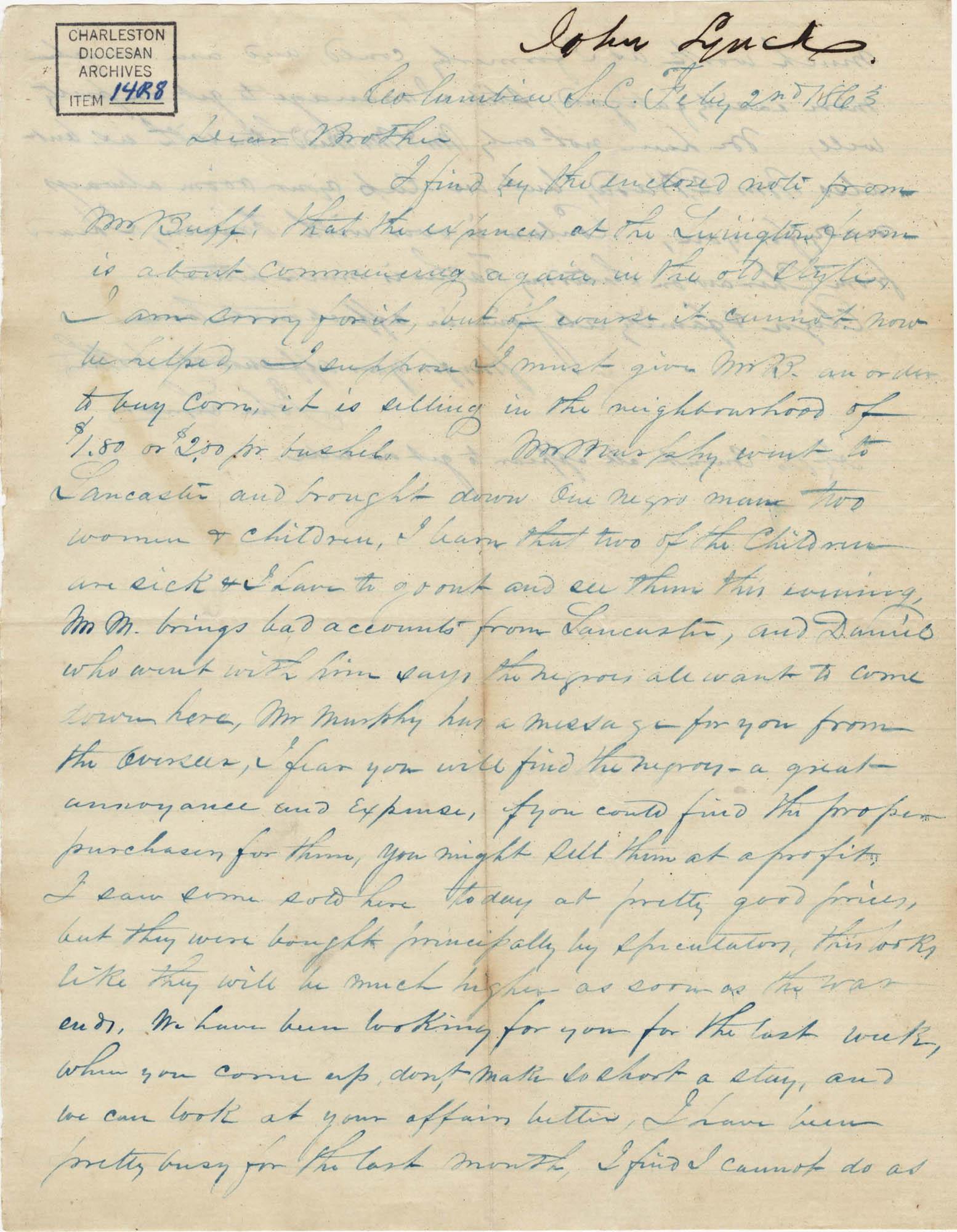 263. John Lynch to Bp Patrick Lynch -- February 2, 1863