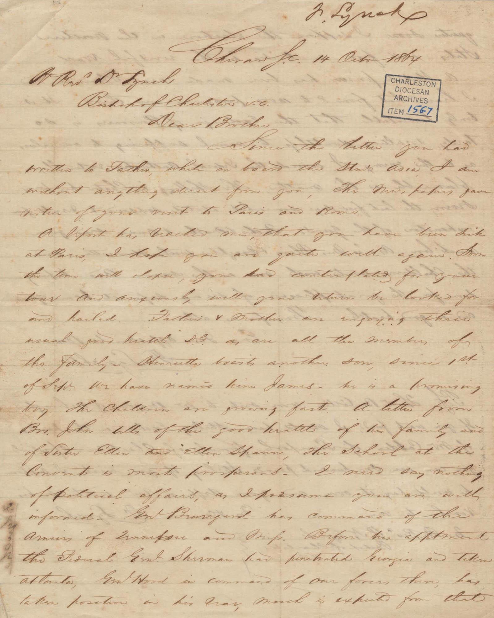 359. Francis Lynch to Bp Patrick Lynch -- October 14, 1864