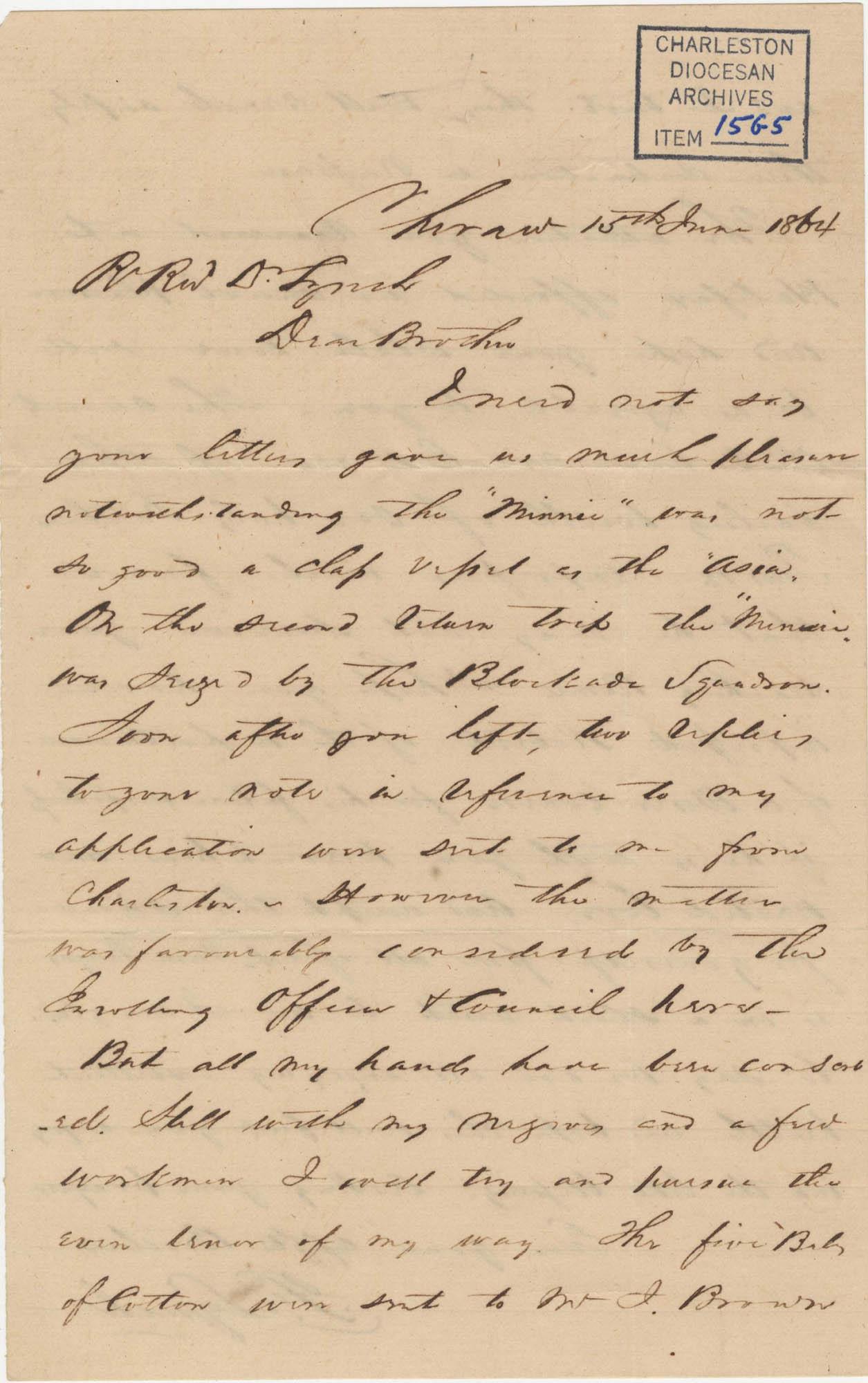 355. Francis Lynch to Bp Patrick Lynch -- June 15, 1864