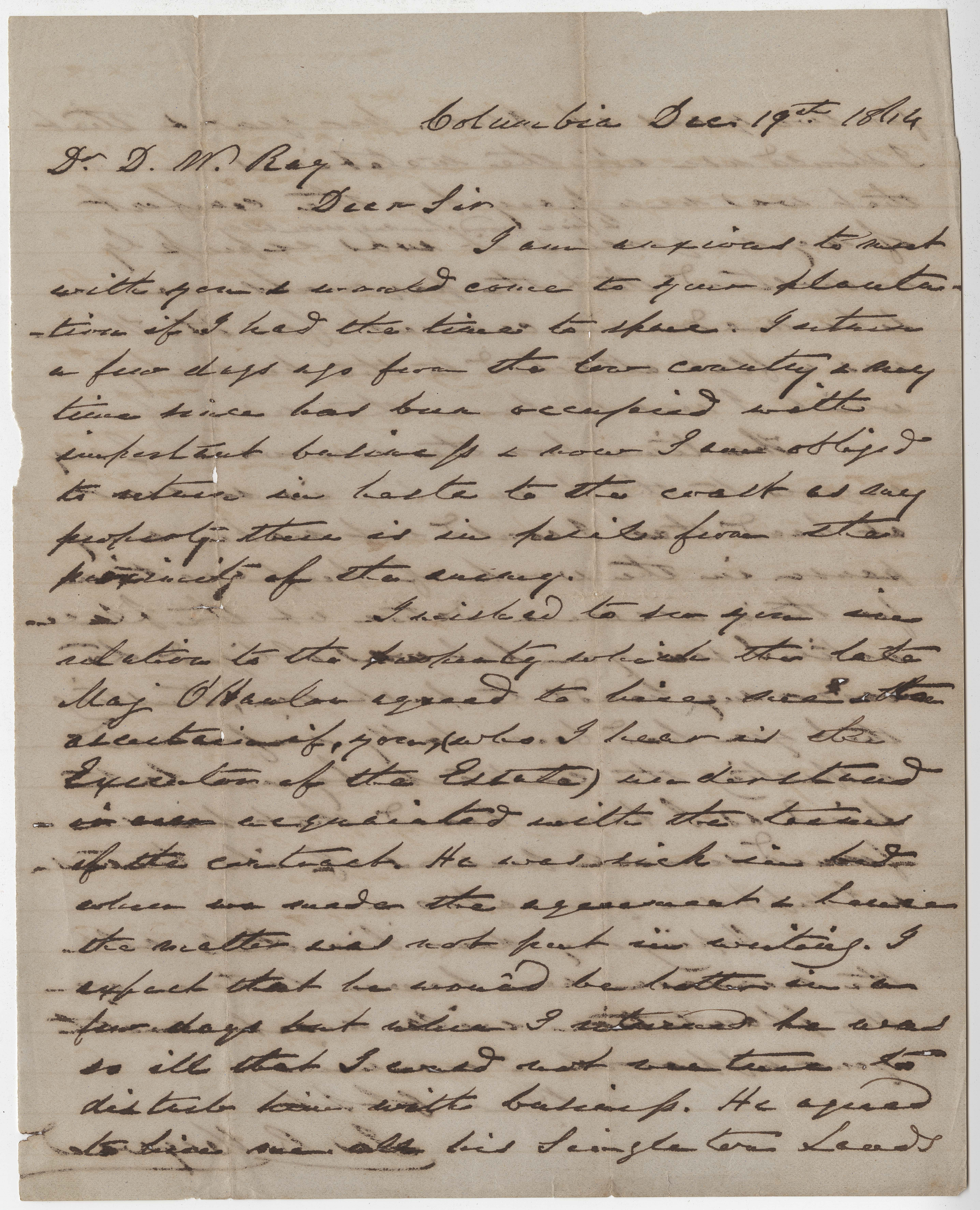 225. James B. Heyward to Dr. D.W. Ray -- December 19, 1864
