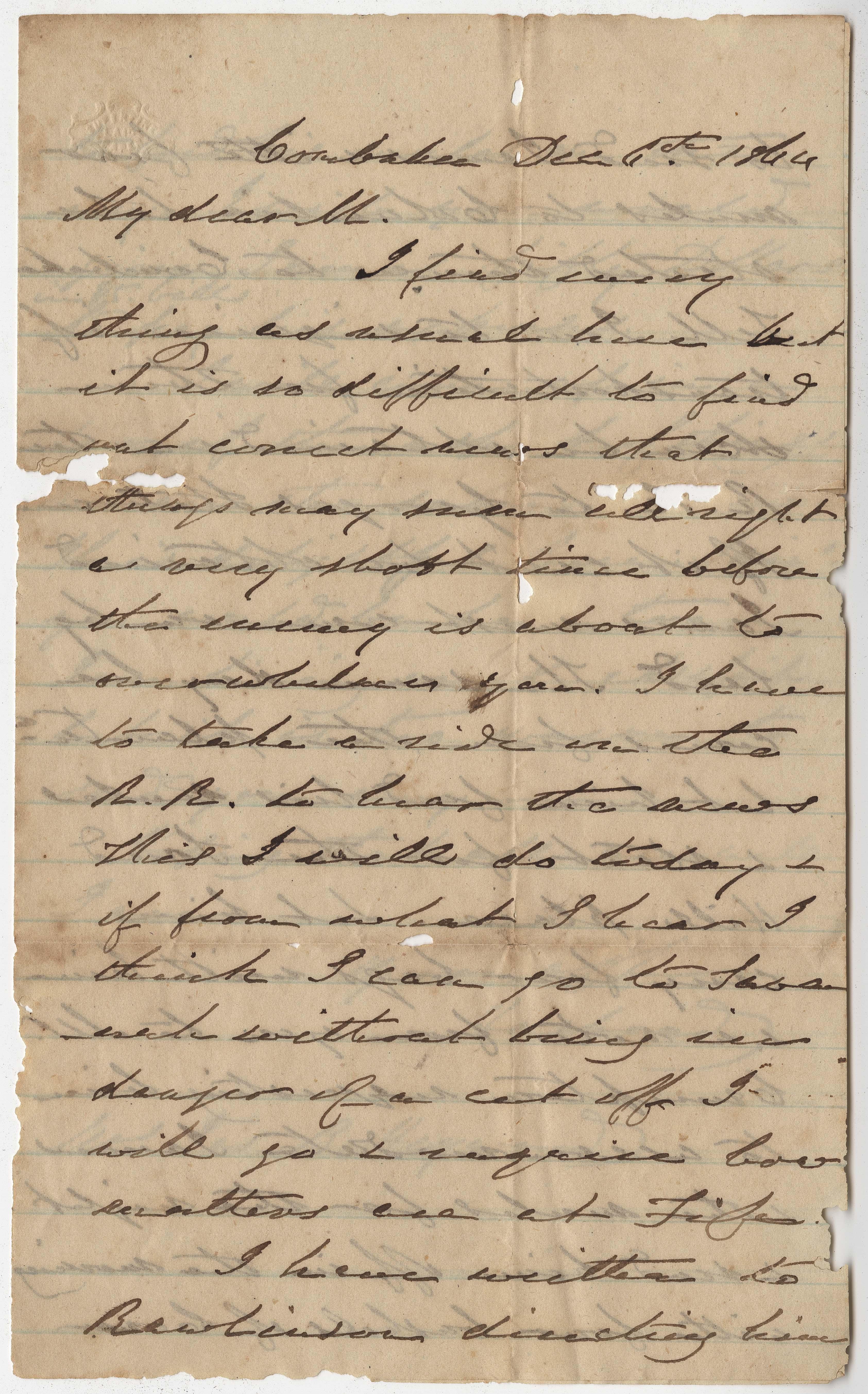 223. James B. Heyward to Maria Heyward -- December 6, 1864