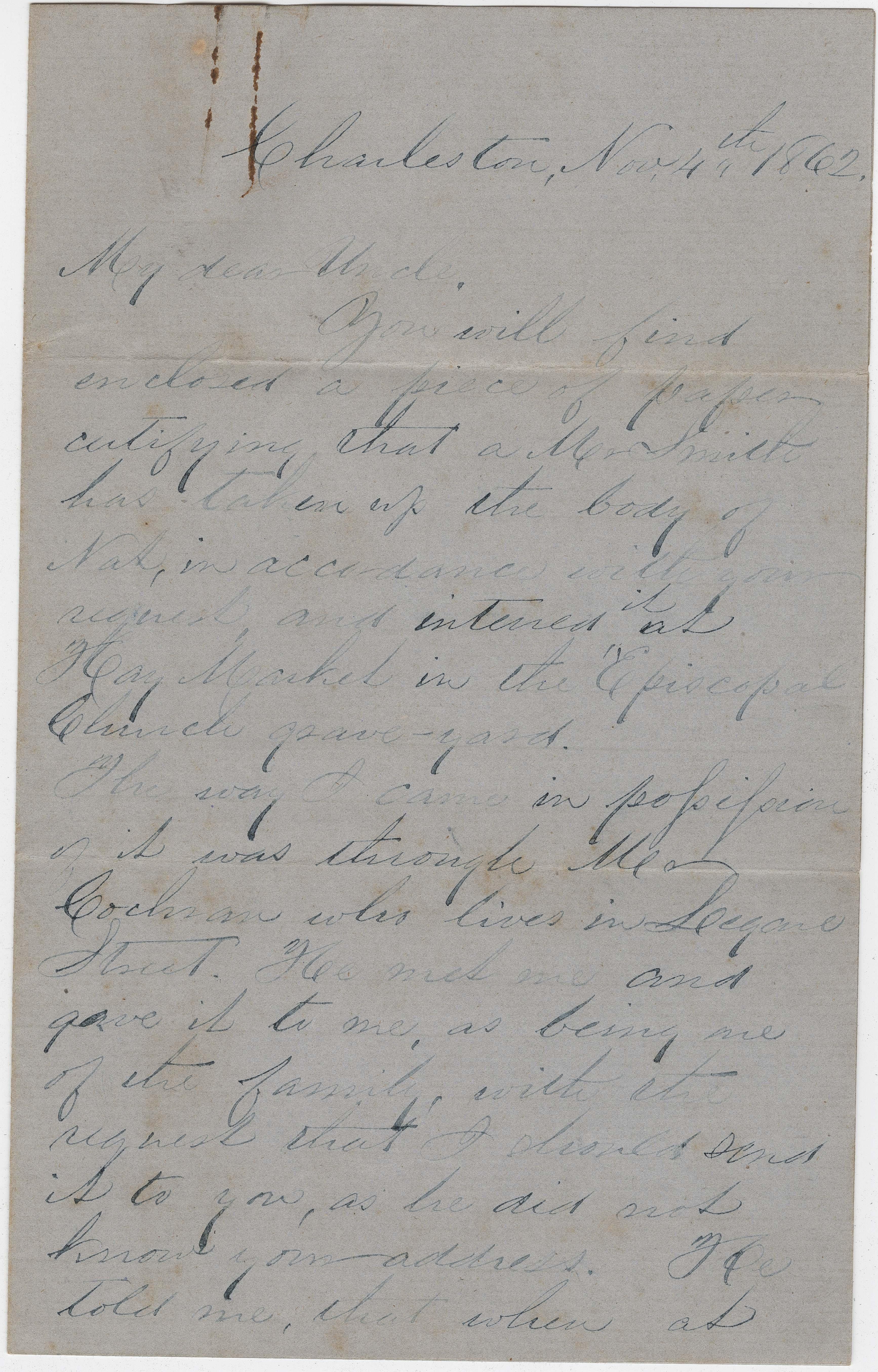 189. J. Keith Heyward to James B. Heyward -- November 4, 1862