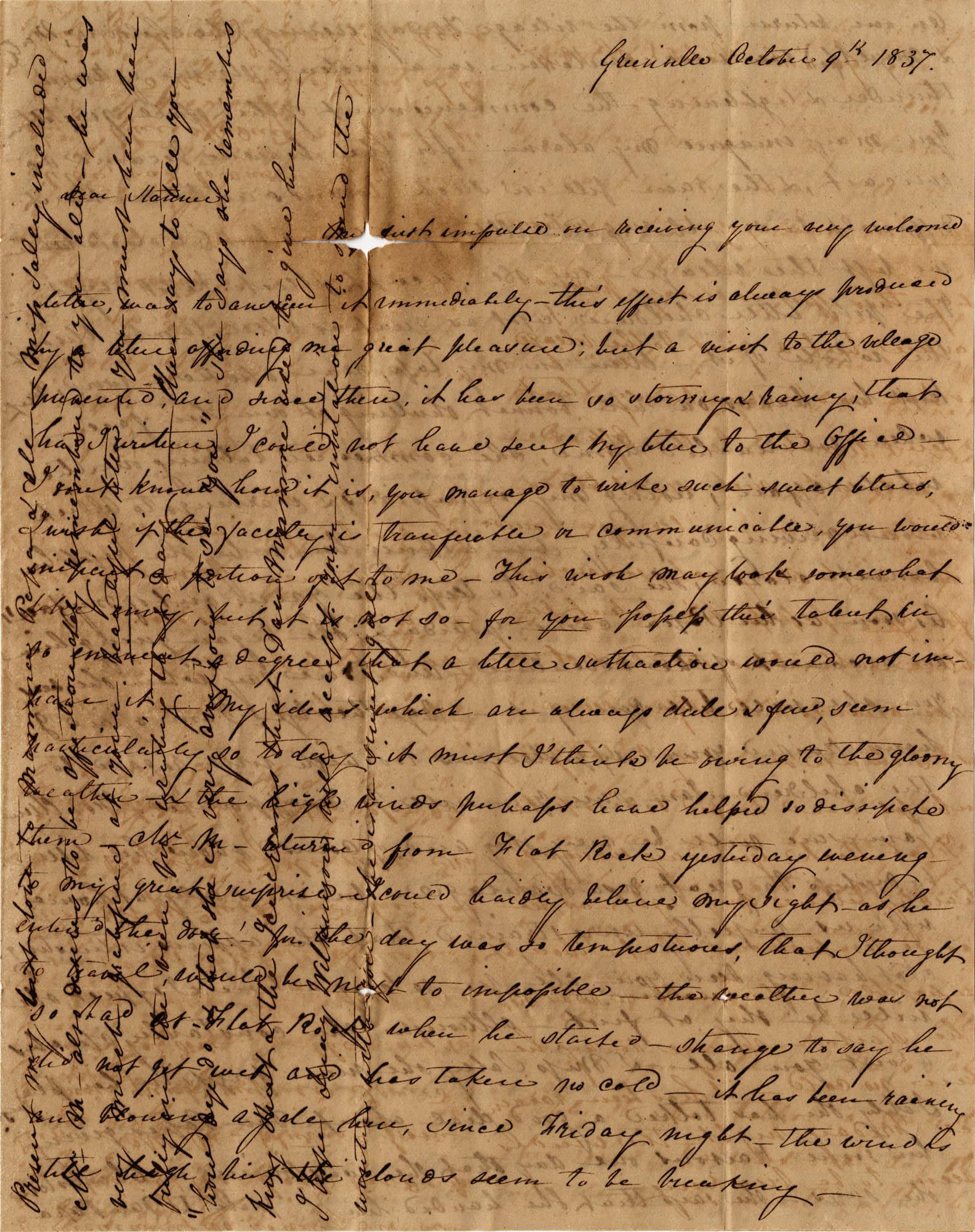 022. Mary Wilkinson Memminger to Anna Wilkinson -- October 9, 1837