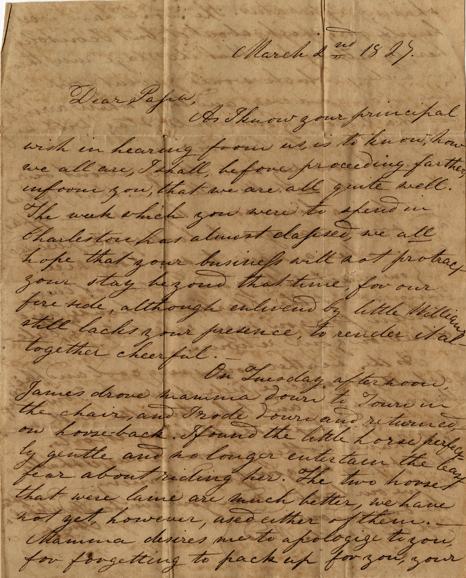 012. Anna Wilkinson to Dr. W. Wilkinson -- March 2, 1825