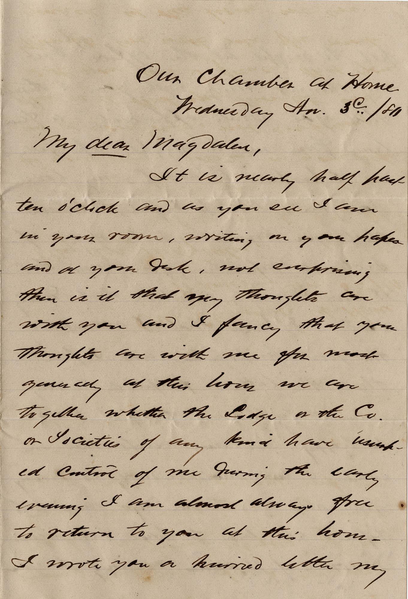 117. Alex Marshall to Magdelen Elizabeth Wilkinson Marshall (nee Keith) -- Nov. 3, 1881