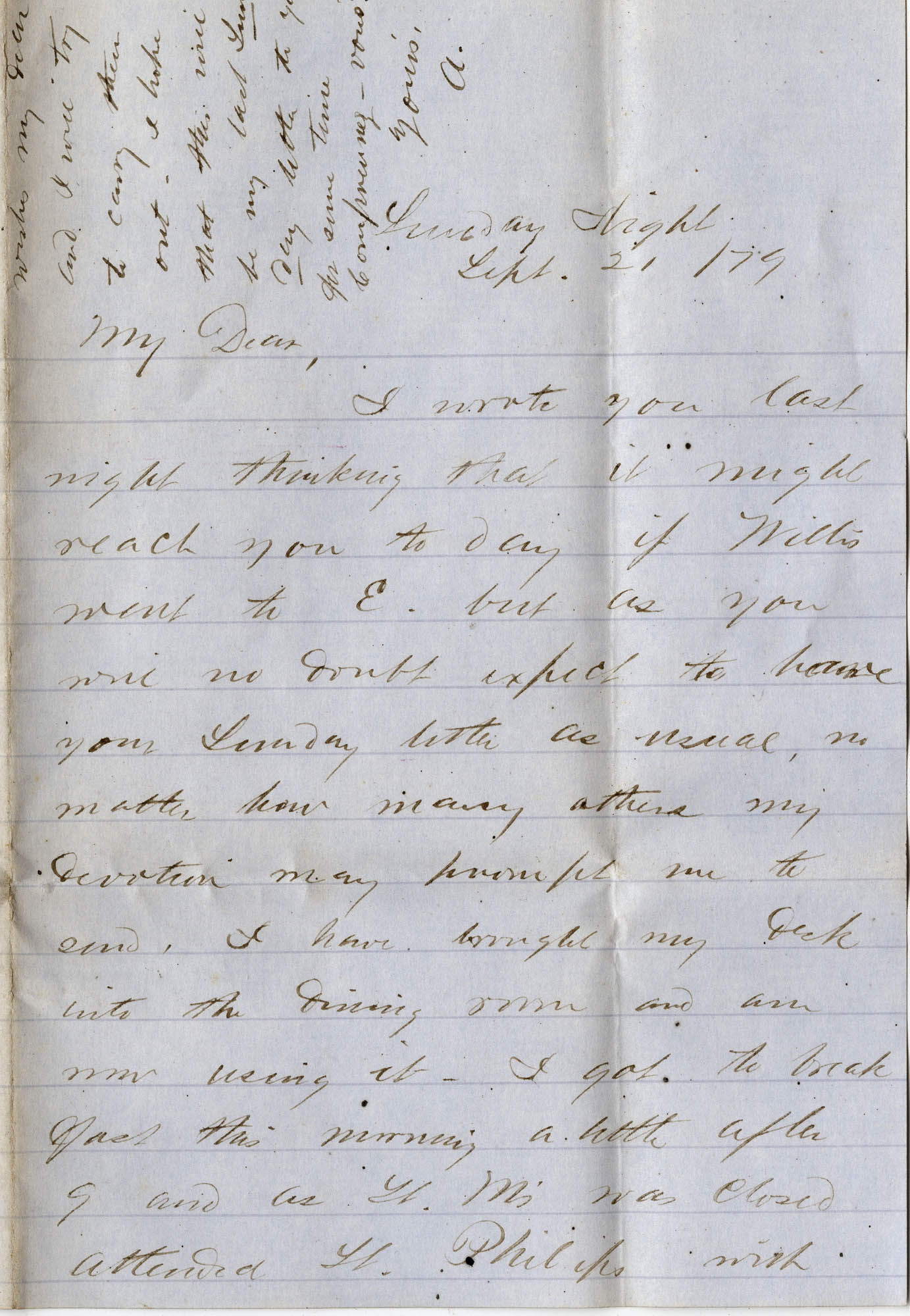 114. Alex Marshall to Magdelen Elizabeth Wilkinson Marshall (nee Keith) -- Sept. 21, 1879