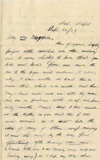 113. Alex Marshall to Magdalen Elizabeth Wilkinson Marshall (nee Keith) -- Sept. 20, 1879