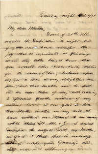 110. Alex Marshall to Magdalen Elizabeth Wilkinson Marshall (nee Keith) -- Oct. 1, 1878