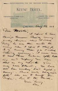 119. Alex Marshall to Magdelen Elizabeth Marshall (nee Keith) -- Aug. 16, 1893