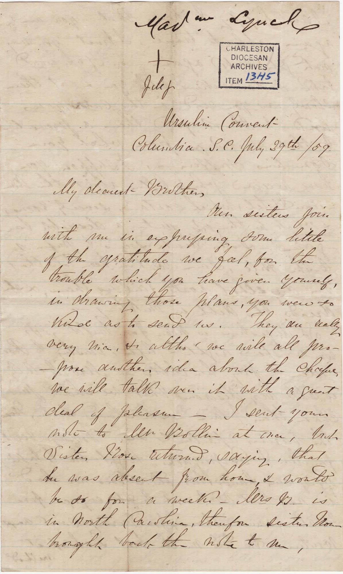 065. Madame Baptiste to Bp Patrick Lynch -- July 29, 1859