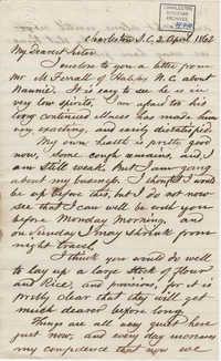 212. Bp Patrick Lynch to Madame Baptiste -- April 2, 1862