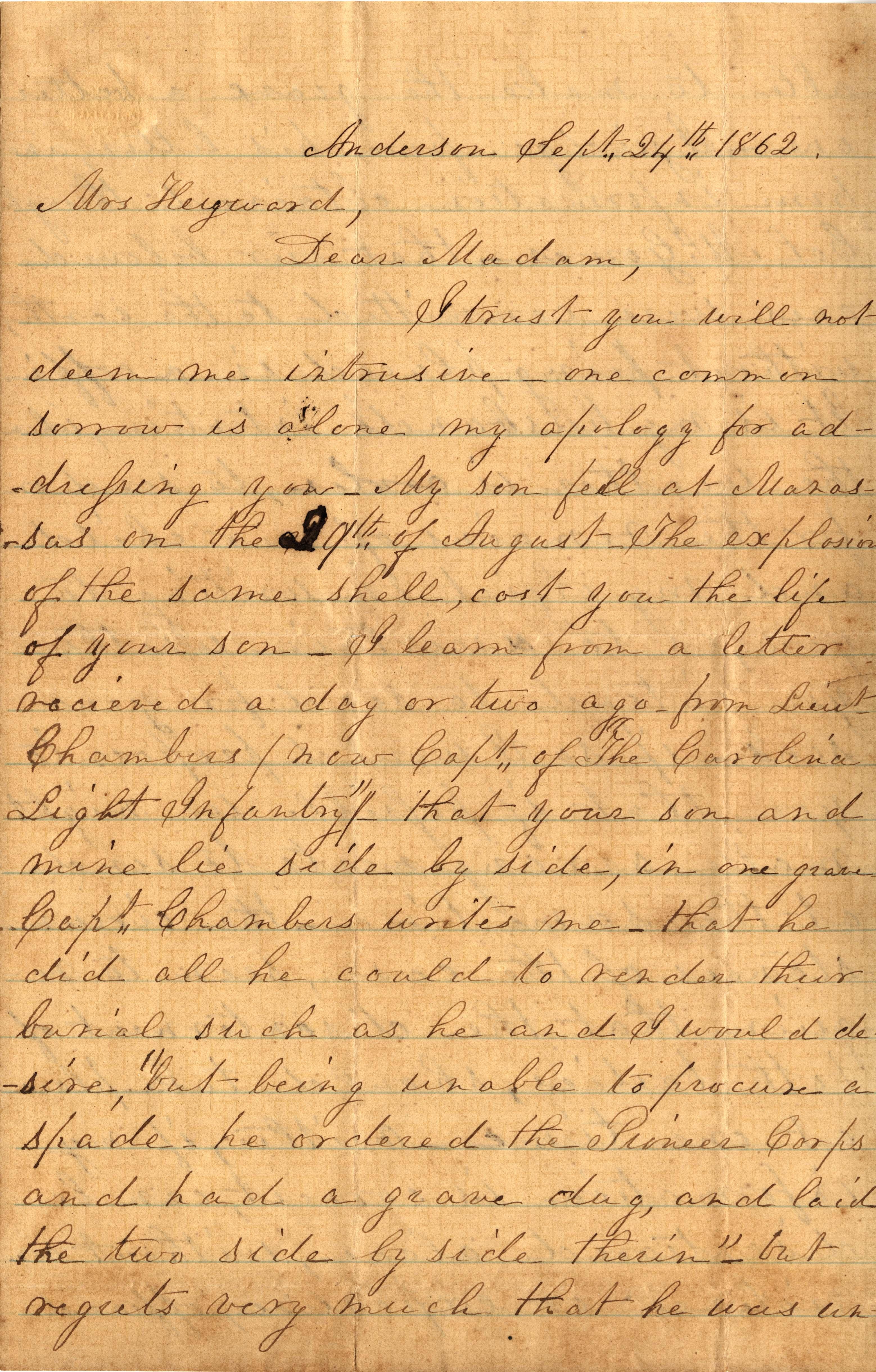 179. M. Munro to Maria Heyward -- September 24, 1862