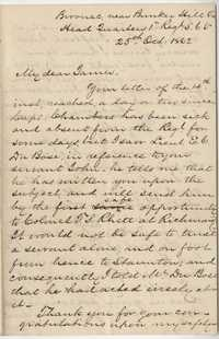 182. Daniel Heyward Hamilton to James B. Heyward -- October 25, 1862