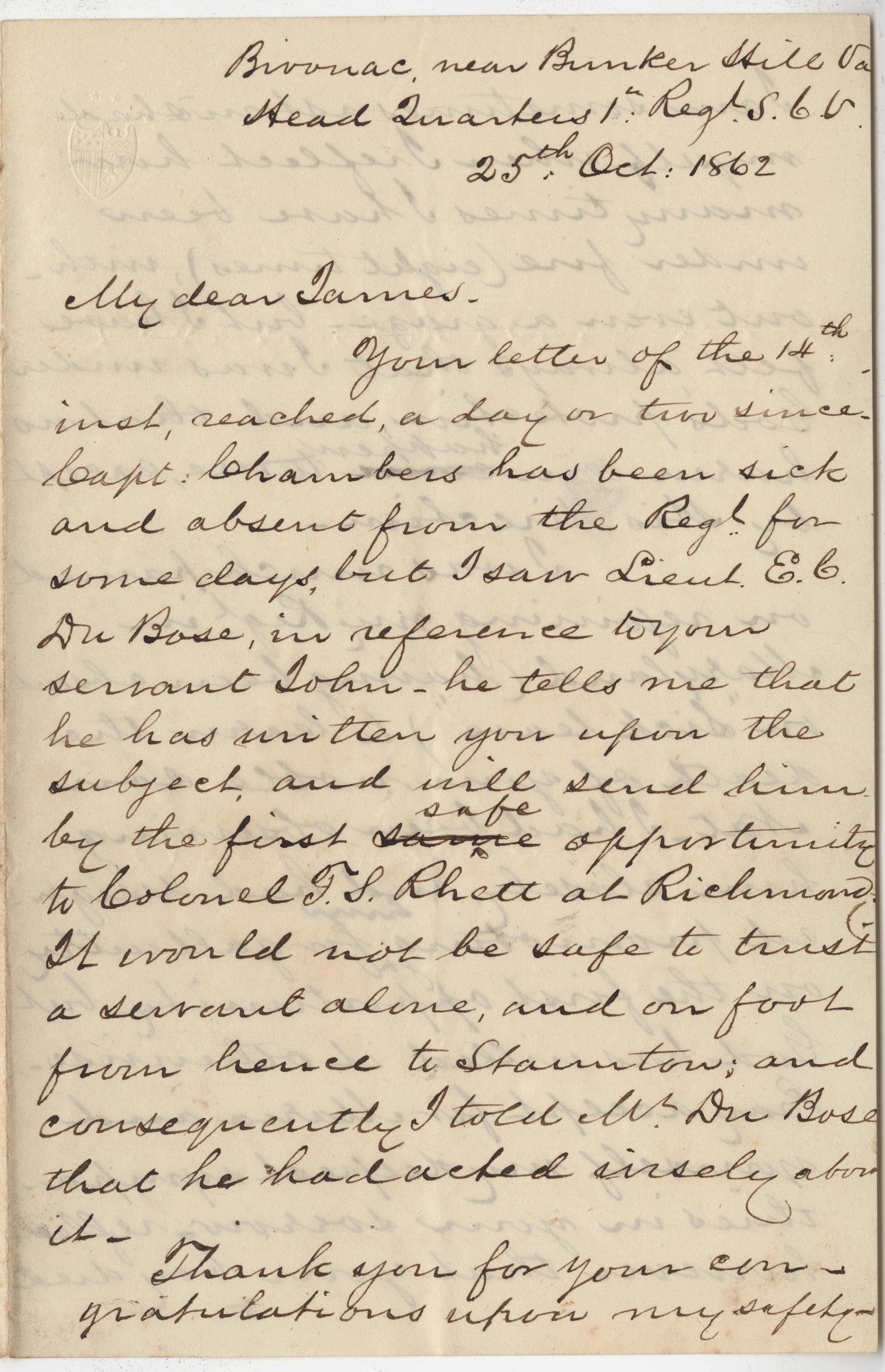 182. Daniel Heyward Hamilton to James B. Heyward -- October 25, 1862
