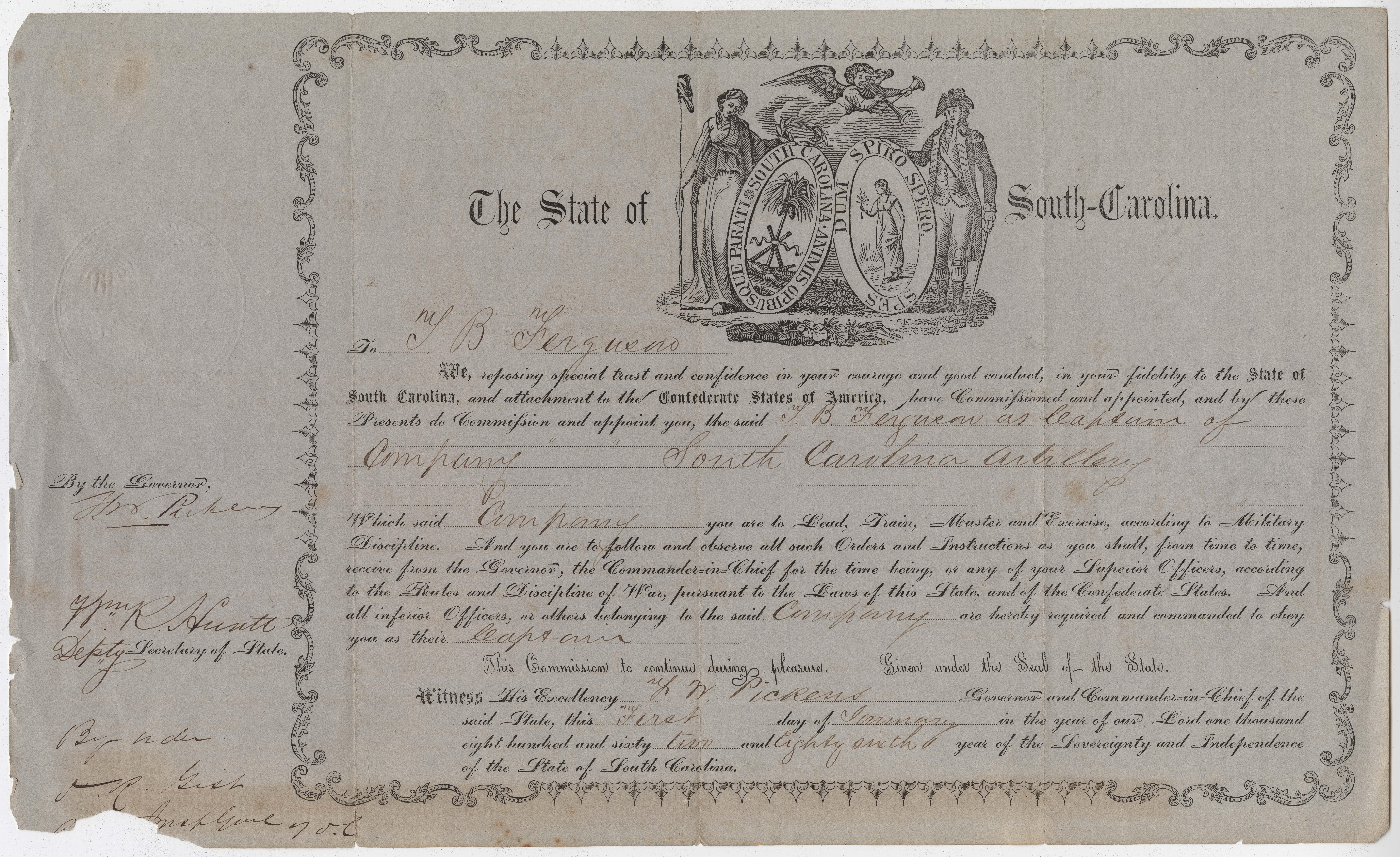 185. Commission of Thomas B. Ferguson to the South Carolina Artillery -- January 1, 1862
