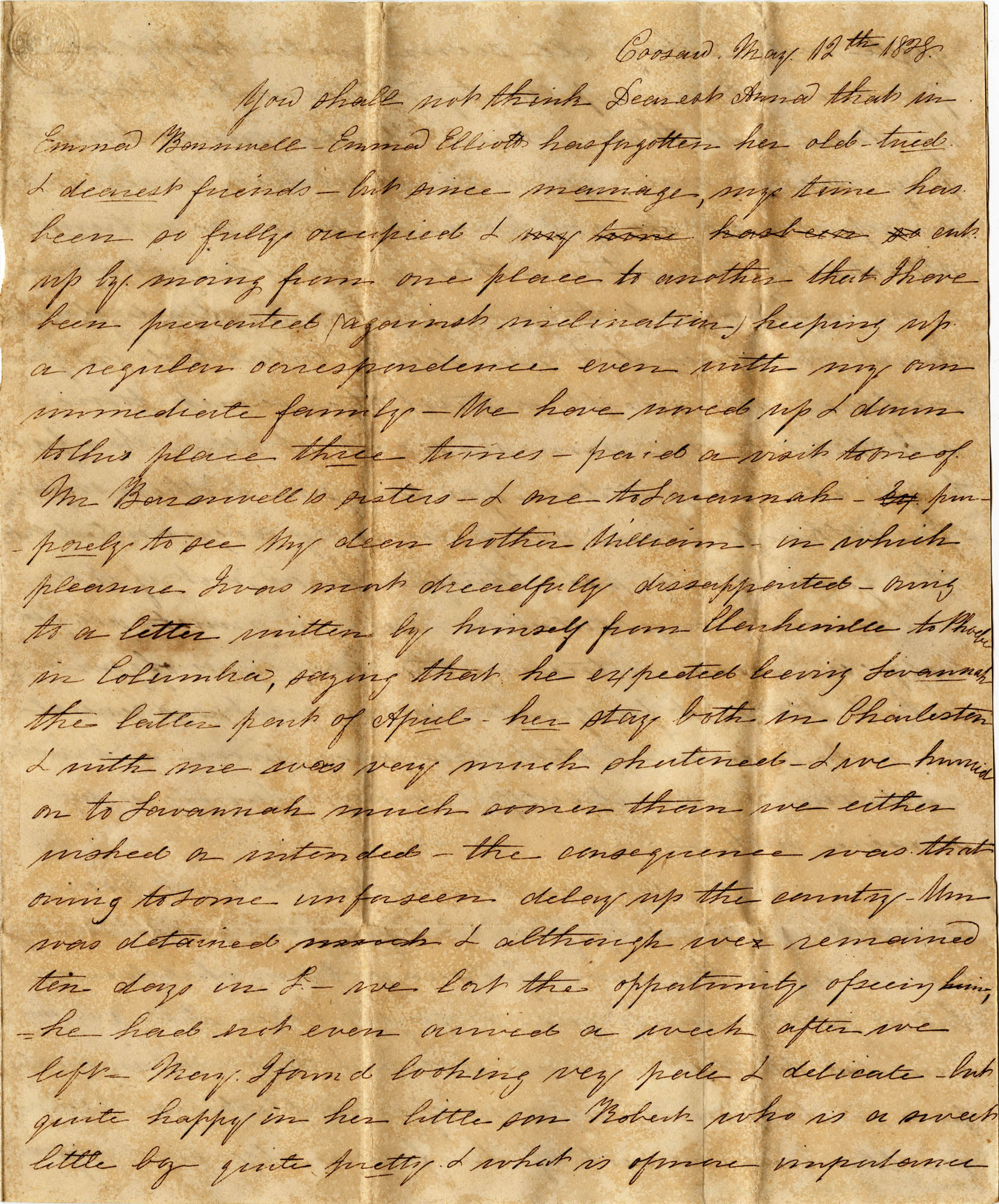 014. Emma Elliott Barnwell to Anna Wilkinson -- May 12, 1828