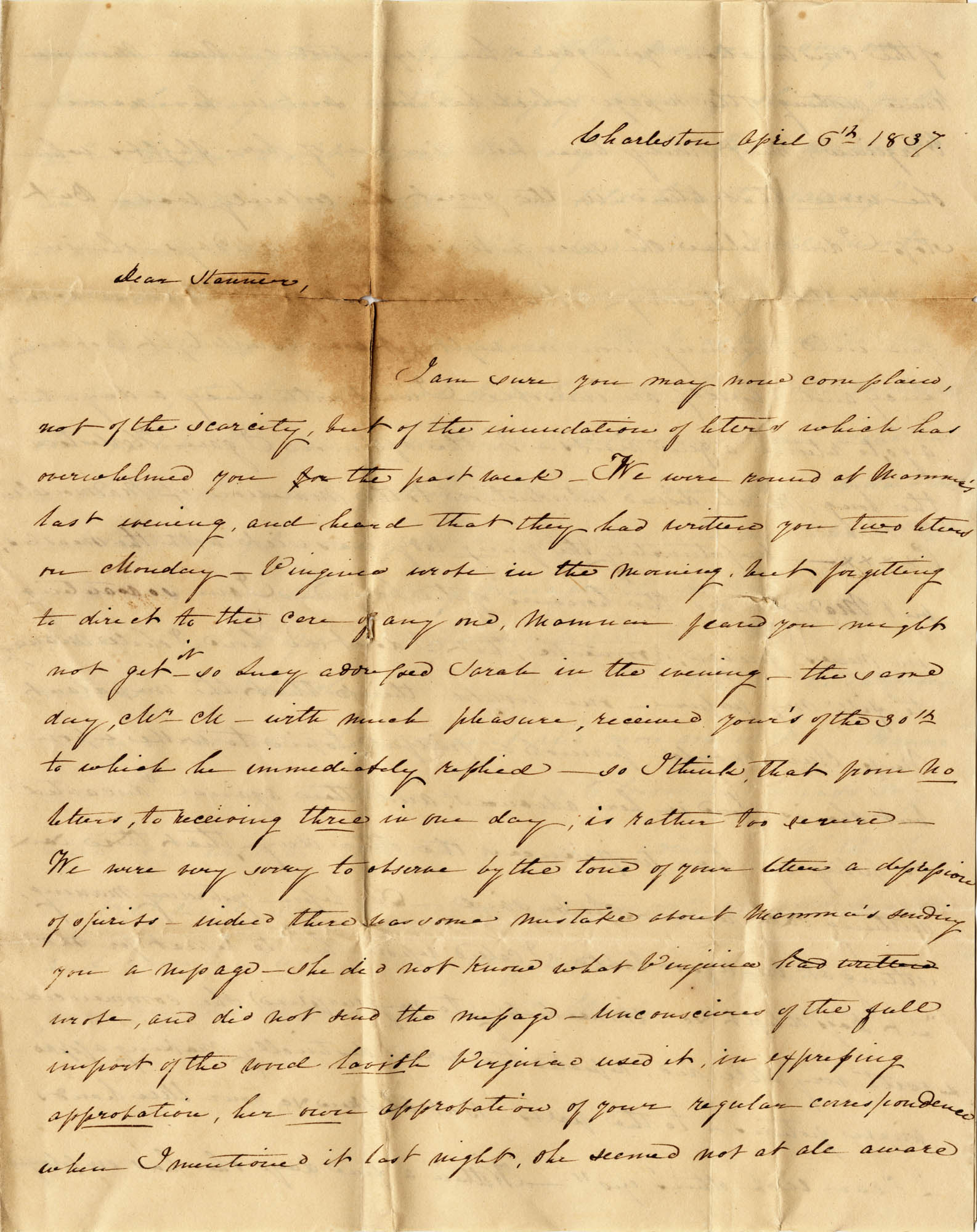 019. Mary Wilkinson Memminger to Anna Wilkinson -- April 6, 1837