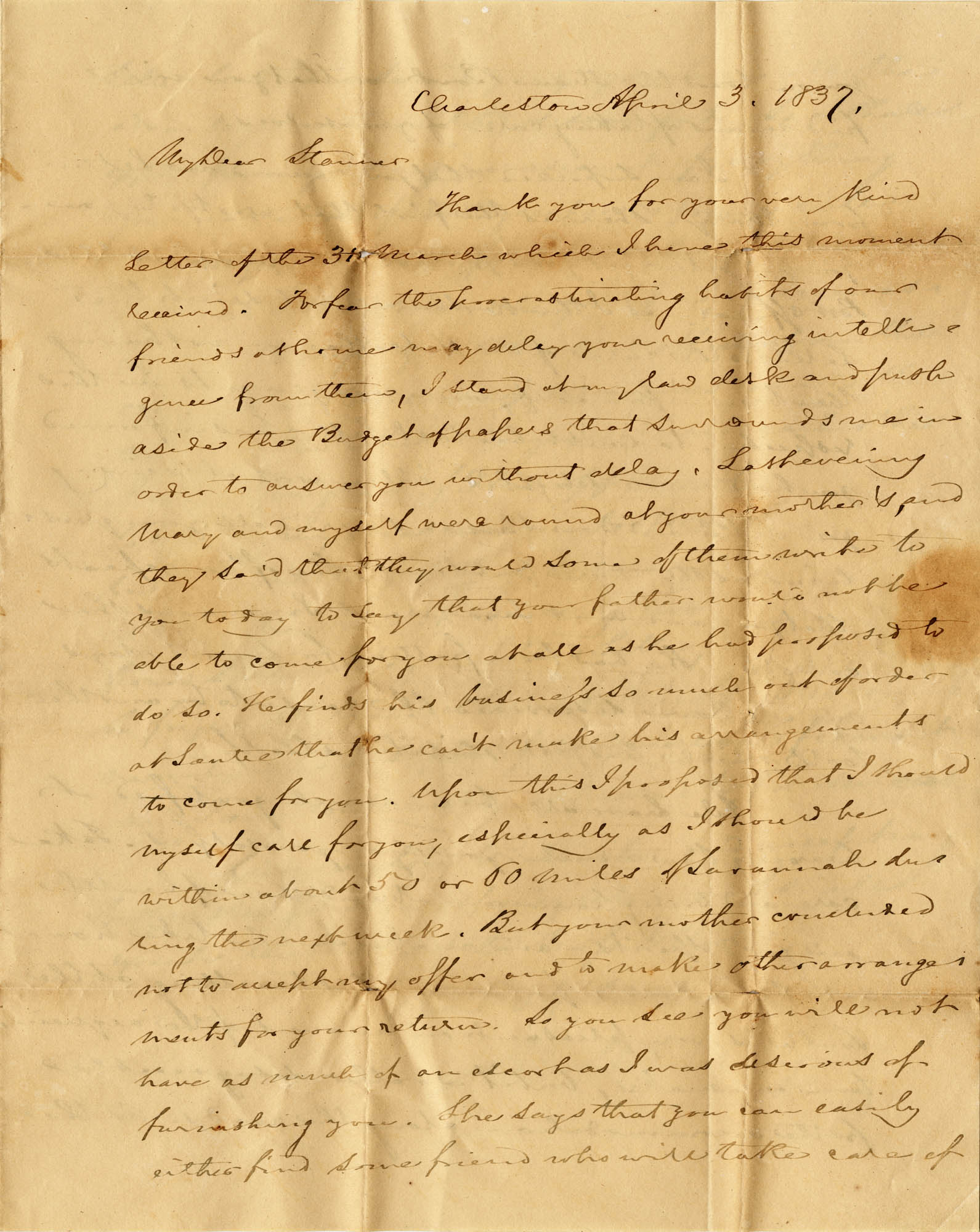 018. C.G. Memminger to Anna Wilkinson -- April 3, 1837