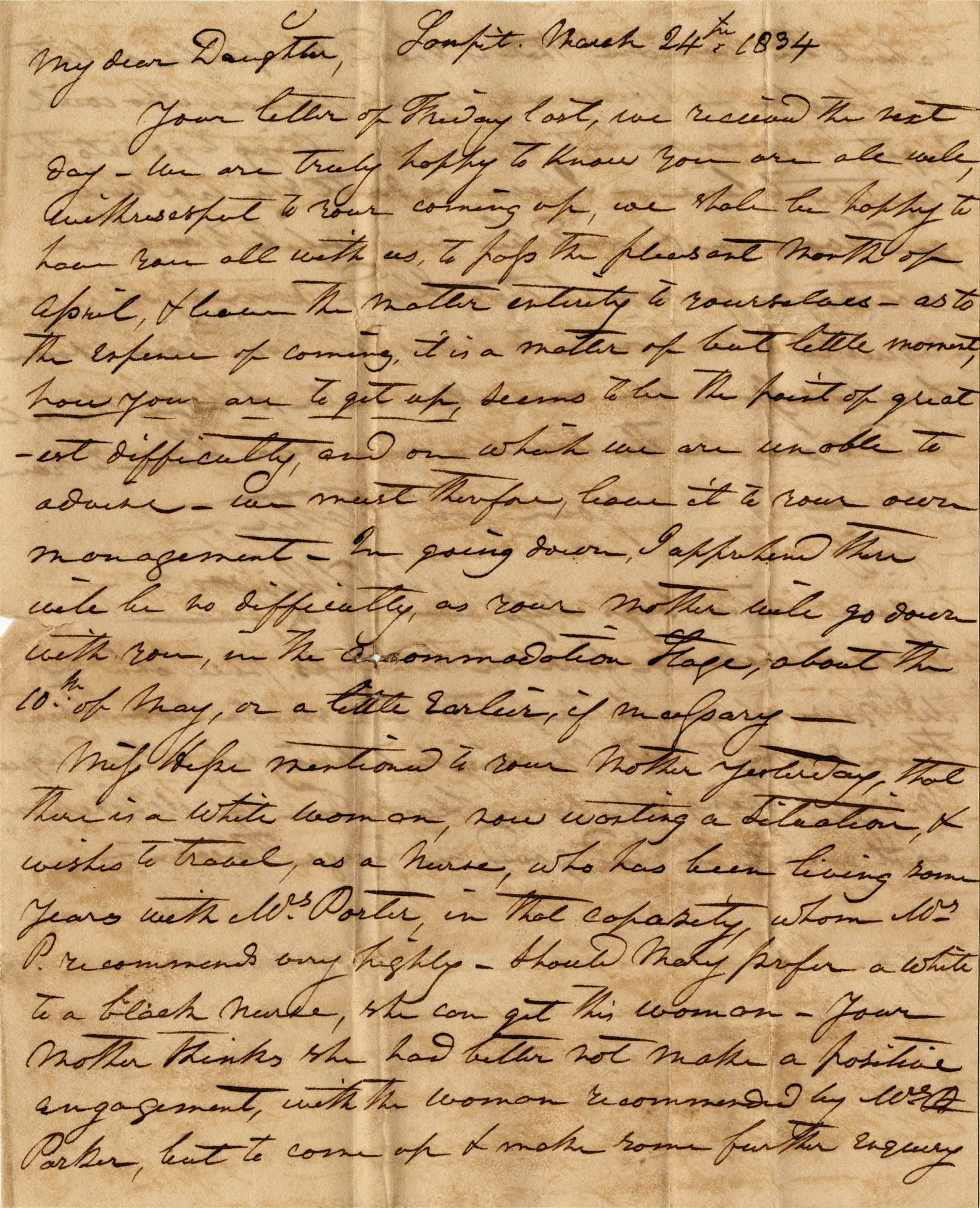 015. Willis Wilkinson to Anna Wilkinson -- March 24, 1834