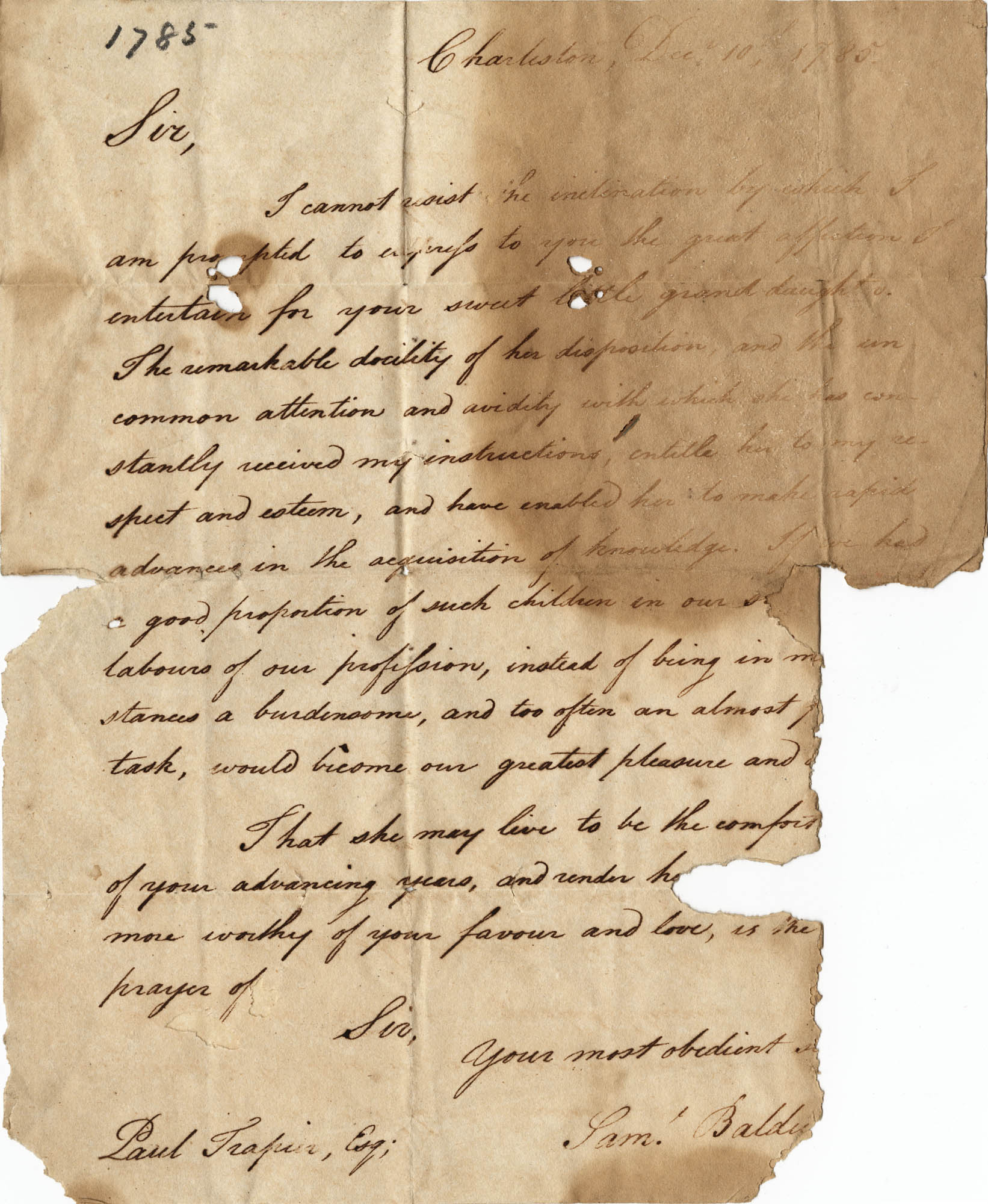 010. Samuel Baldwin to Paul Trapier -- December 10, 1785