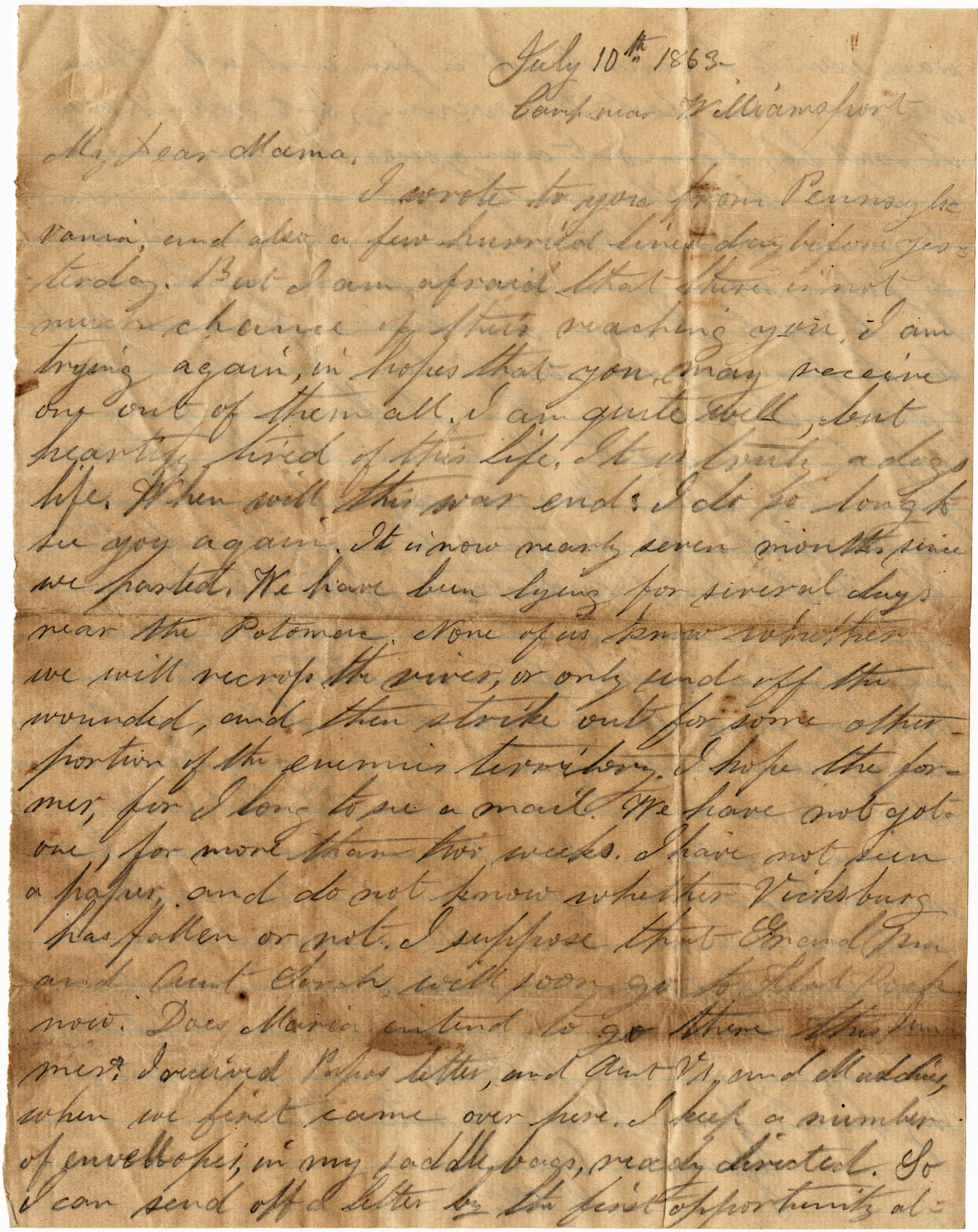 090. Willis Keith to Anna Bell Keith -- July 10, 1863