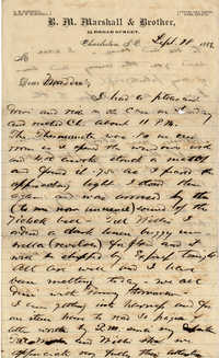 134. Alex Marshall to Magdalen Elizabeth Wilkinson Marshall (nee Keith) -- Sept., 18, 1882