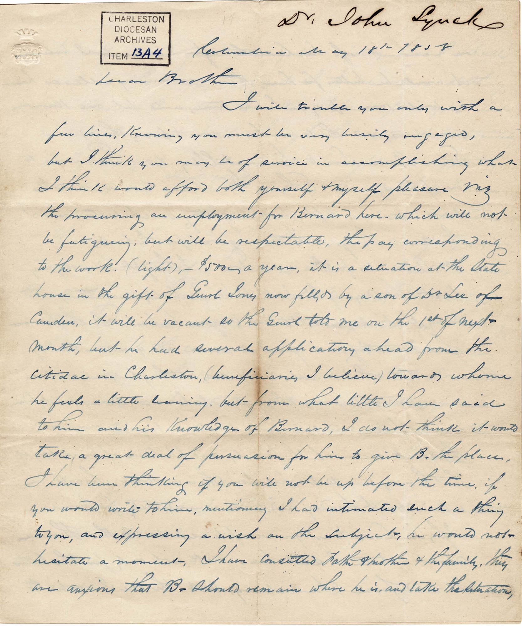004. John Lynch to Bp Patrick Lynch -- May 18, 1858
